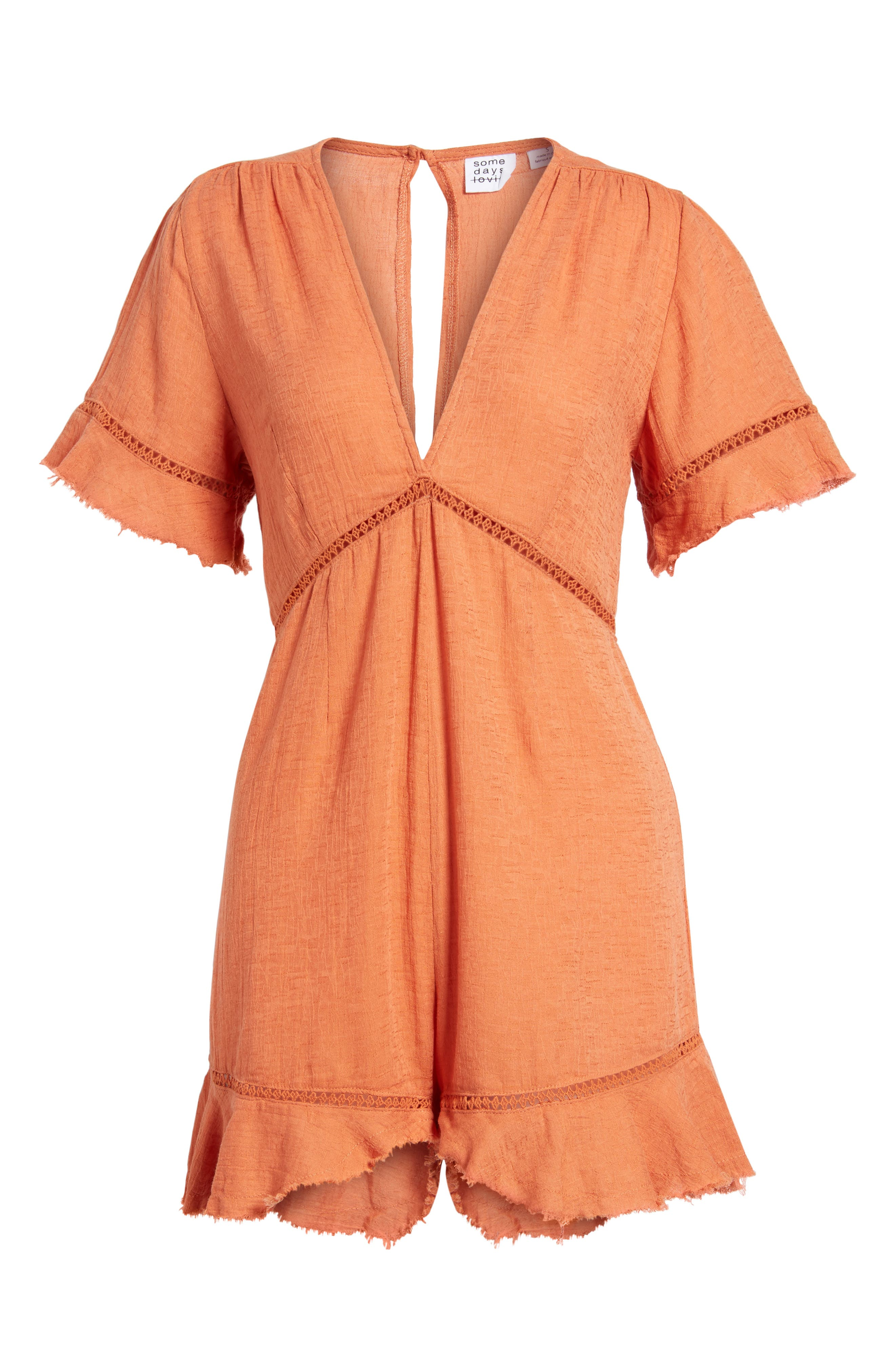 Highway to Highway Fray Edge Romper,                             Alternate thumbnail 6, color,                             950