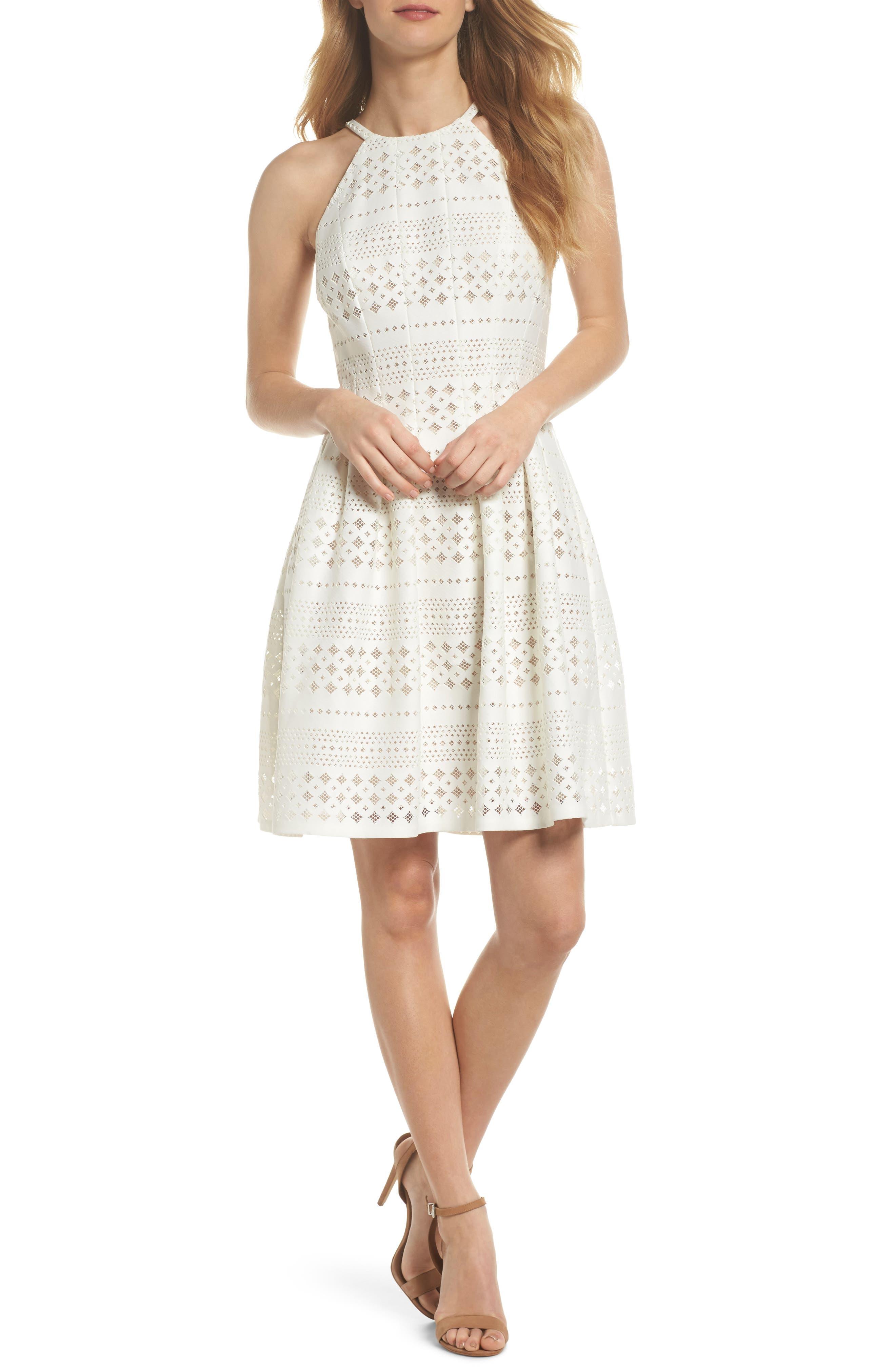Laser Cut Fit & Flare Halter Dress,                             Main thumbnail 3, color,