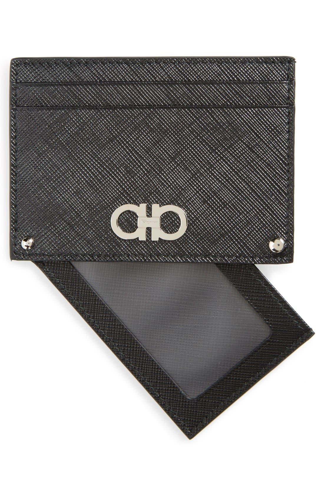 Saffiano Leather Card Case,                             Alternate thumbnail 3, color,                             001