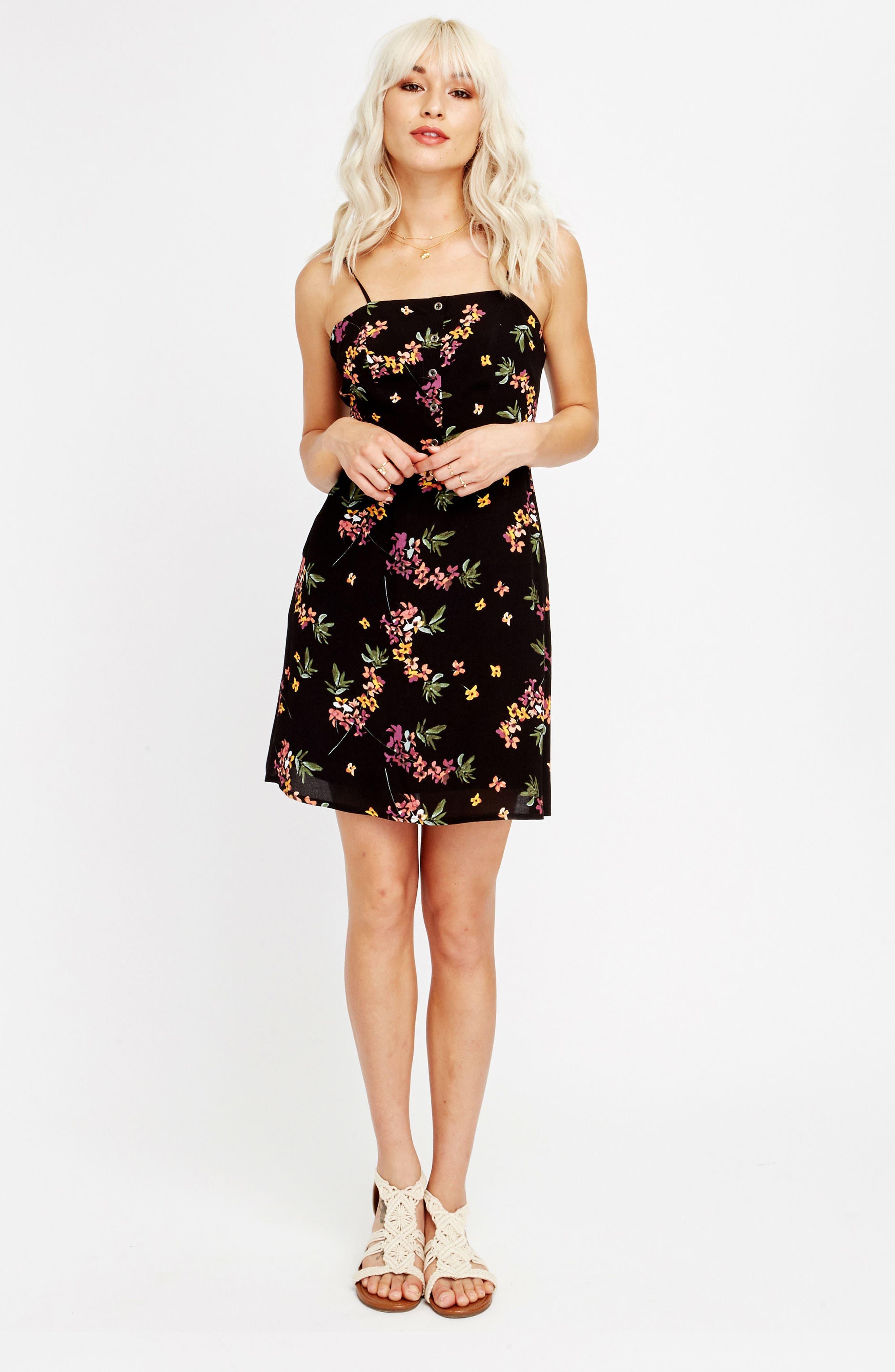 Floral Tie Back Minidress,                             Alternate thumbnail 8, color,                             001