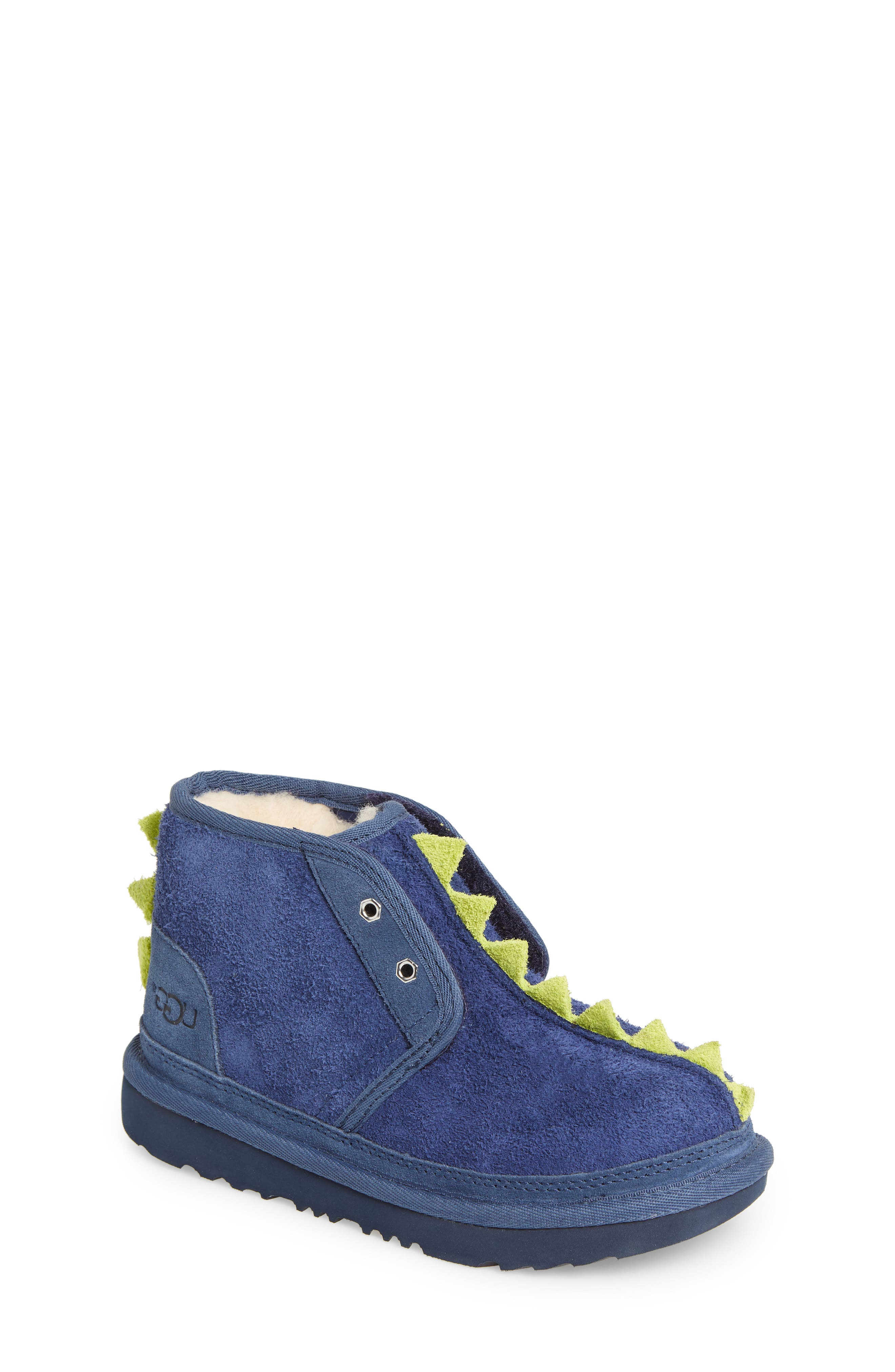 Dydo Neumel Genuine Shearling Lined Boot,                         Main,                         color, NAVY / BRIGHT CHARTREUSE