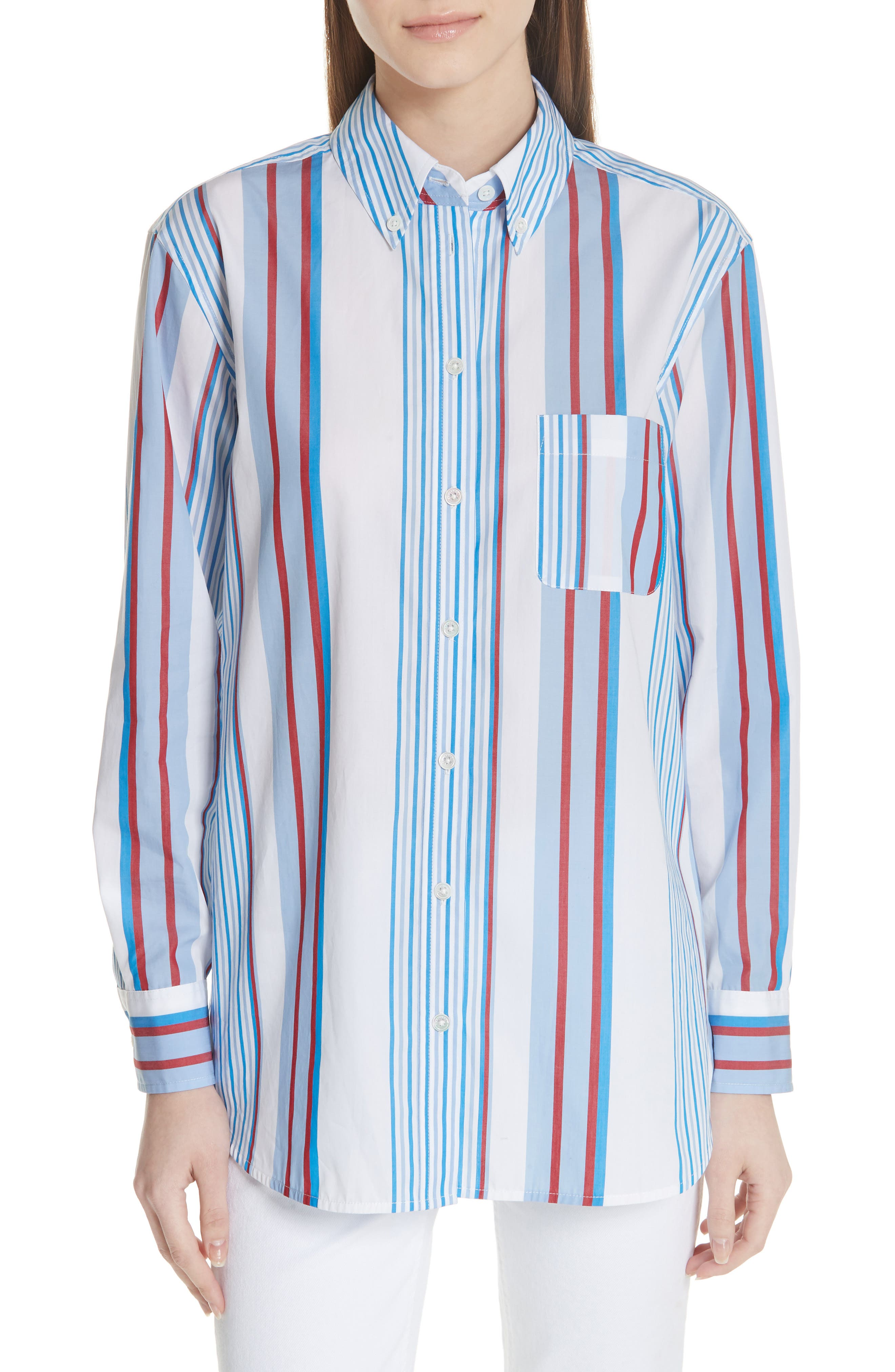 Margaux Stripe Shirt,                             Main thumbnail 1, color,                             BLUE WHITE MULTI