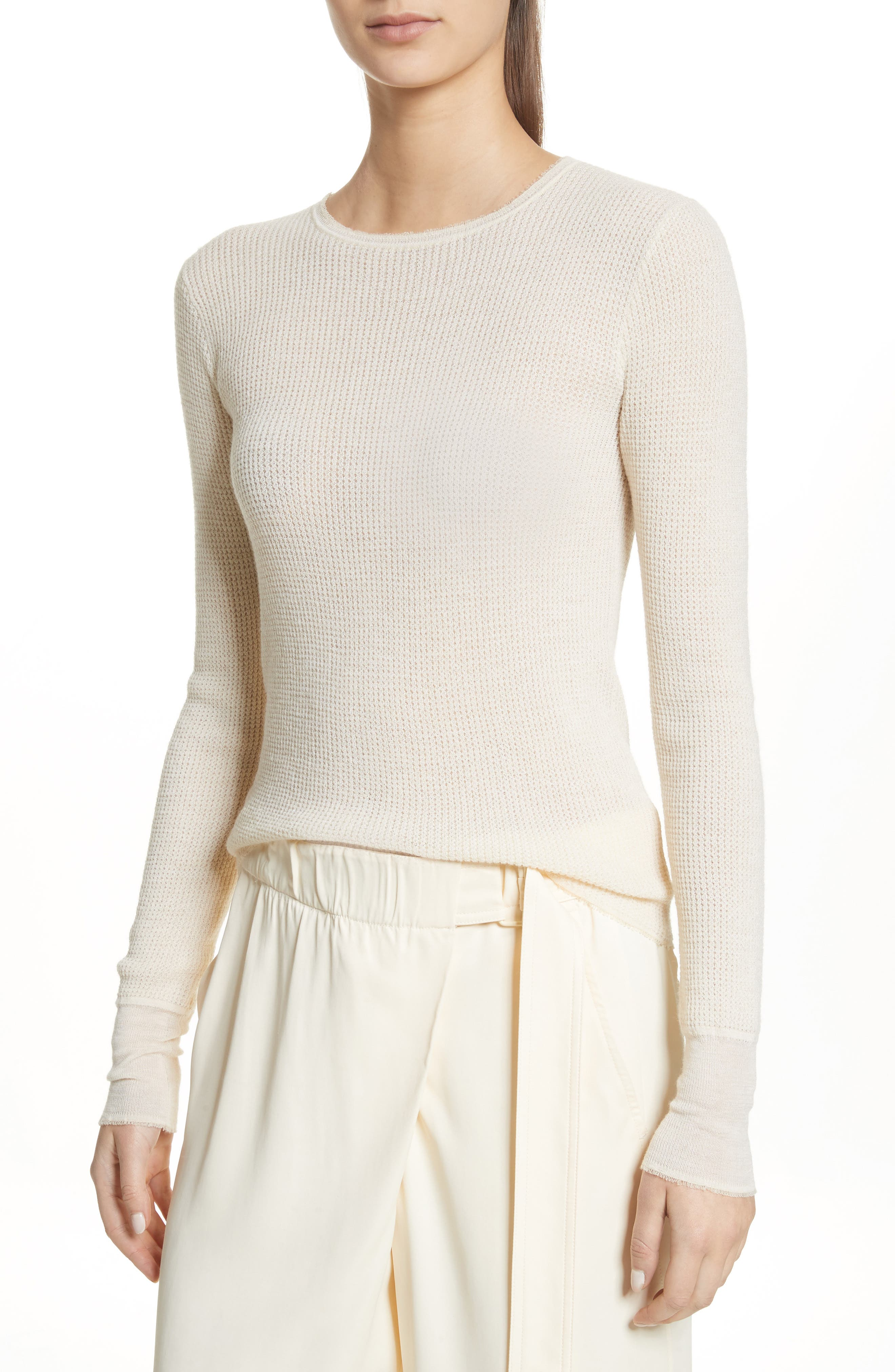Waffle Knit Wool & Cashmere Top,                             Main thumbnail 2, color,
