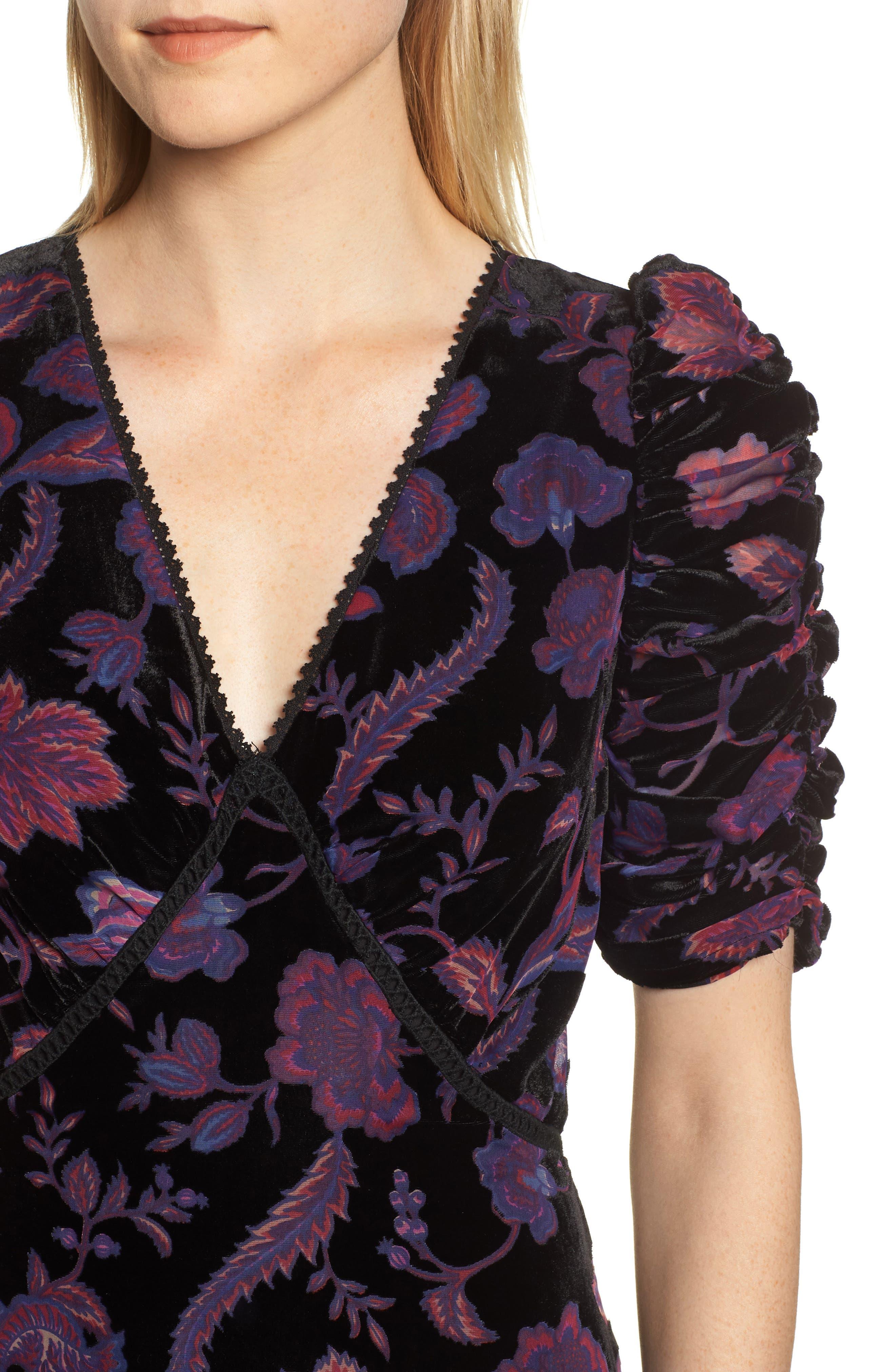 Arlette Floral Velvet Dress,                             Alternate thumbnail 4, color,                             BLACK MULTI