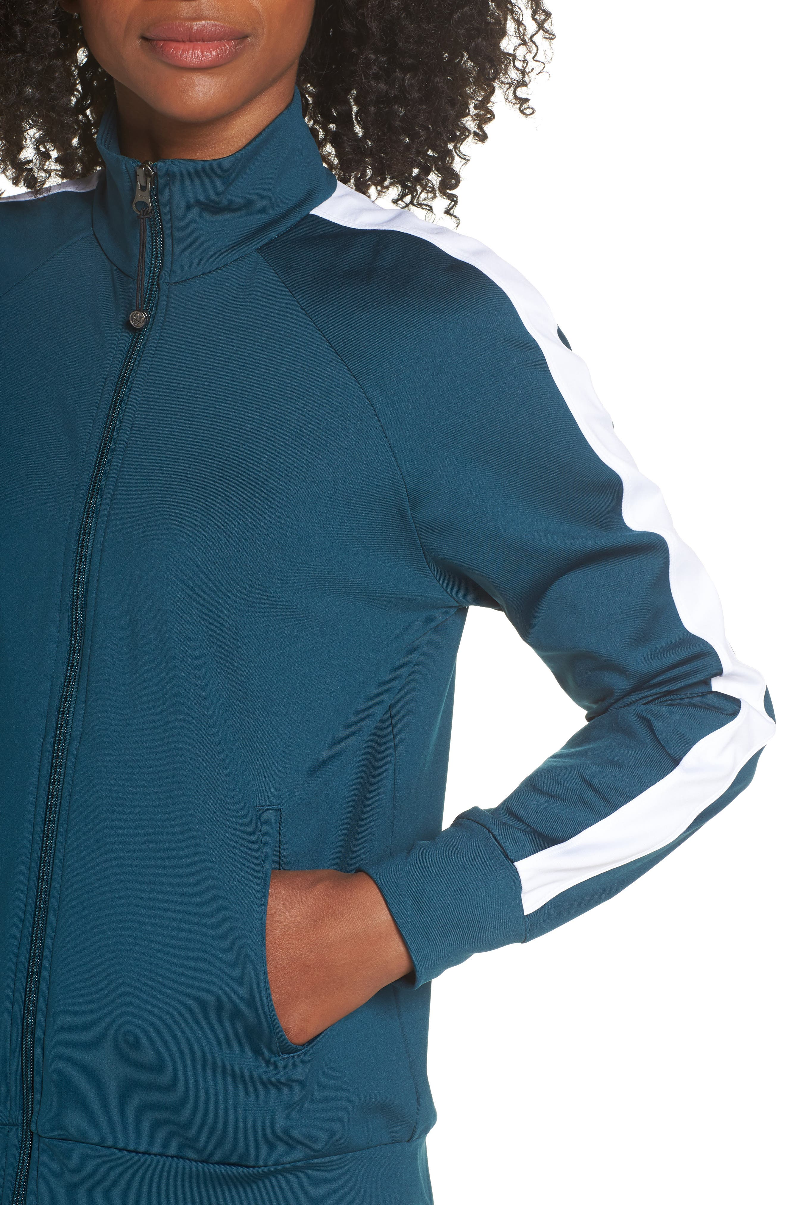 Taylor Track Jacket,                             Alternate thumbnail 4, color,                             TEAL ABYSS