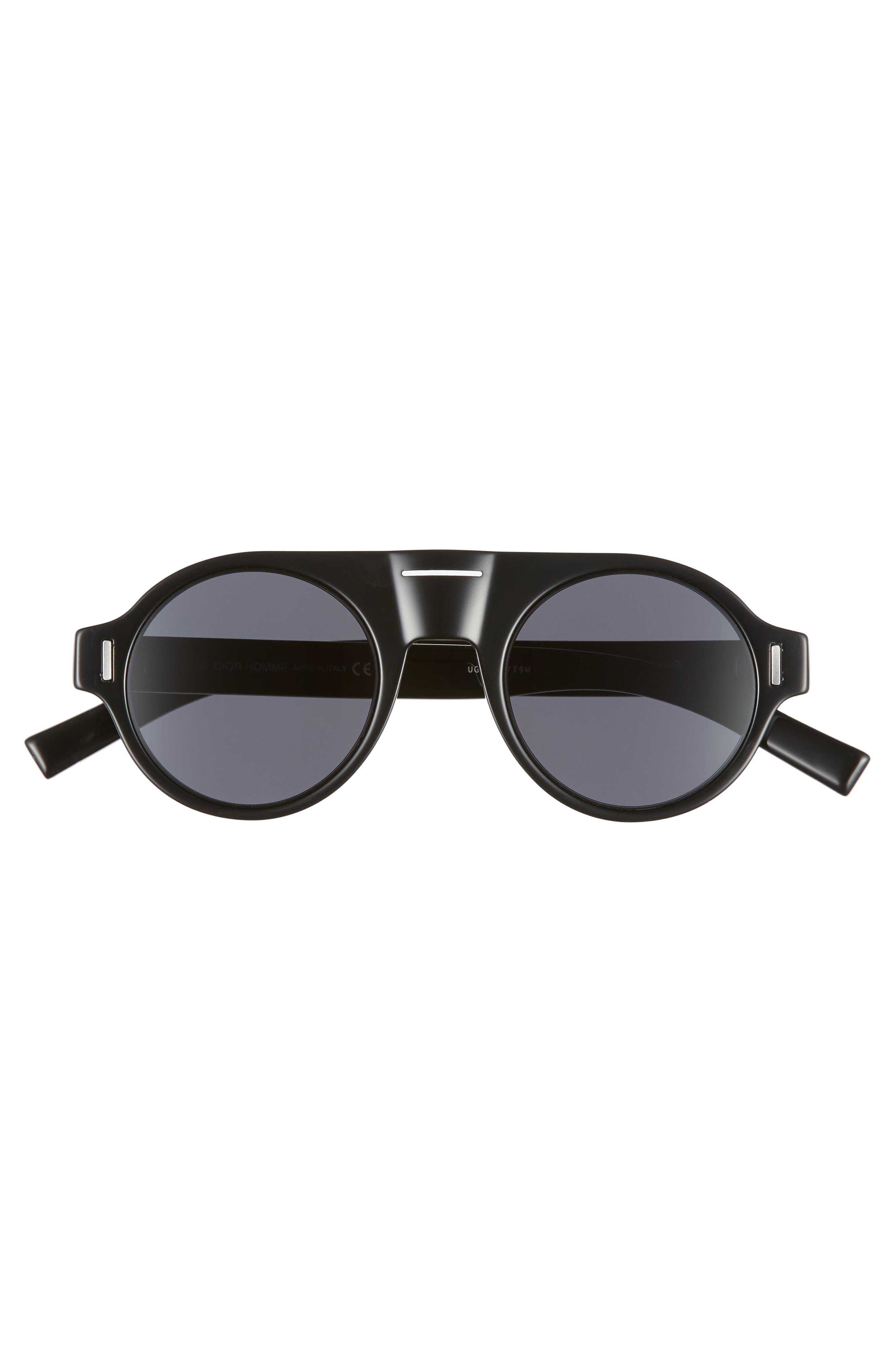 47mm Round Sunglasses,                             Alternate thumbnail 2, color,                             BLACK