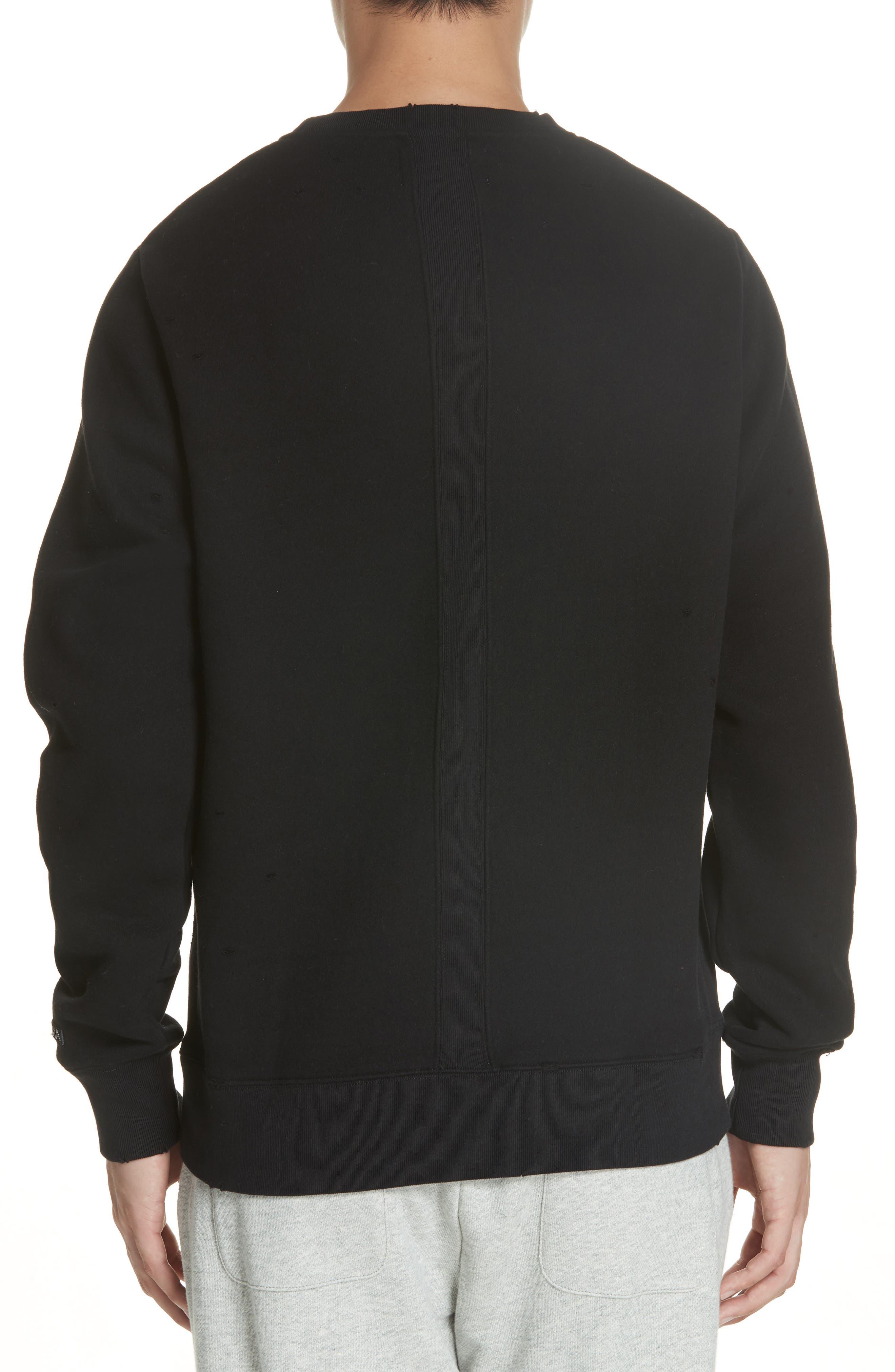 Distressed Crewneck Sweatshirt,                             Alternate thumbnail 2, color,                             BLACK