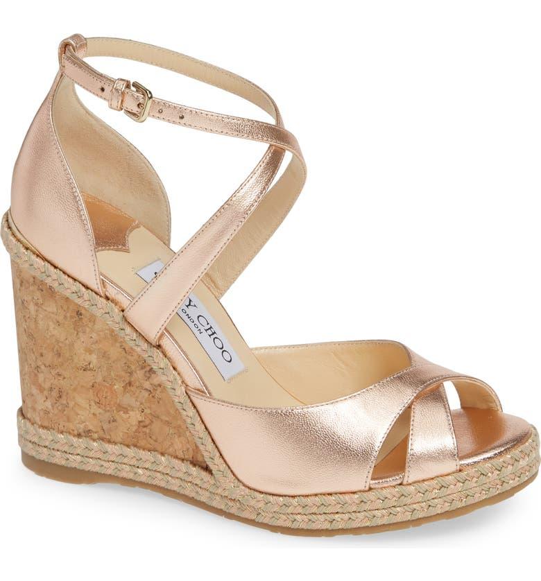 8c7e66b528a6 Jimmy Choo Women S Alanah 105 Crisscross Wedge Sandals In Ballet Pink  Metallic