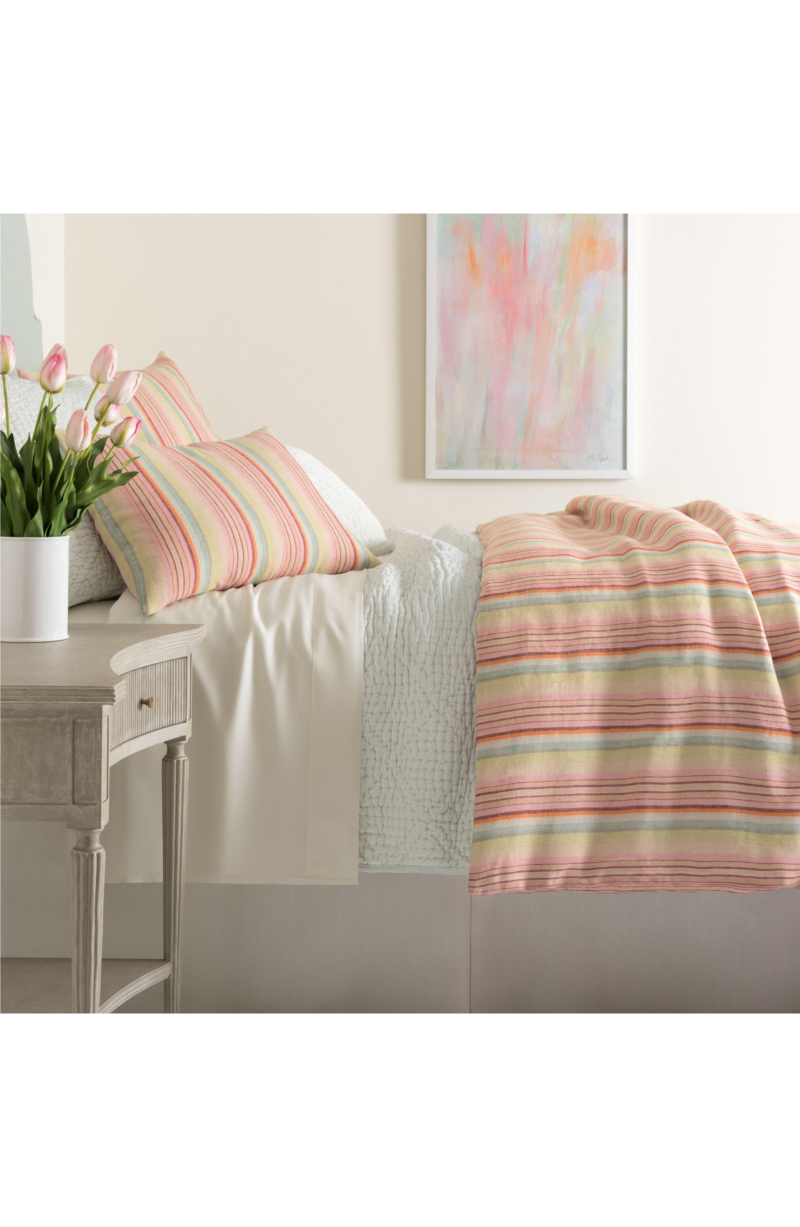 Savona Stripe Linen Duvet Cover,                         Main,                         color, 650