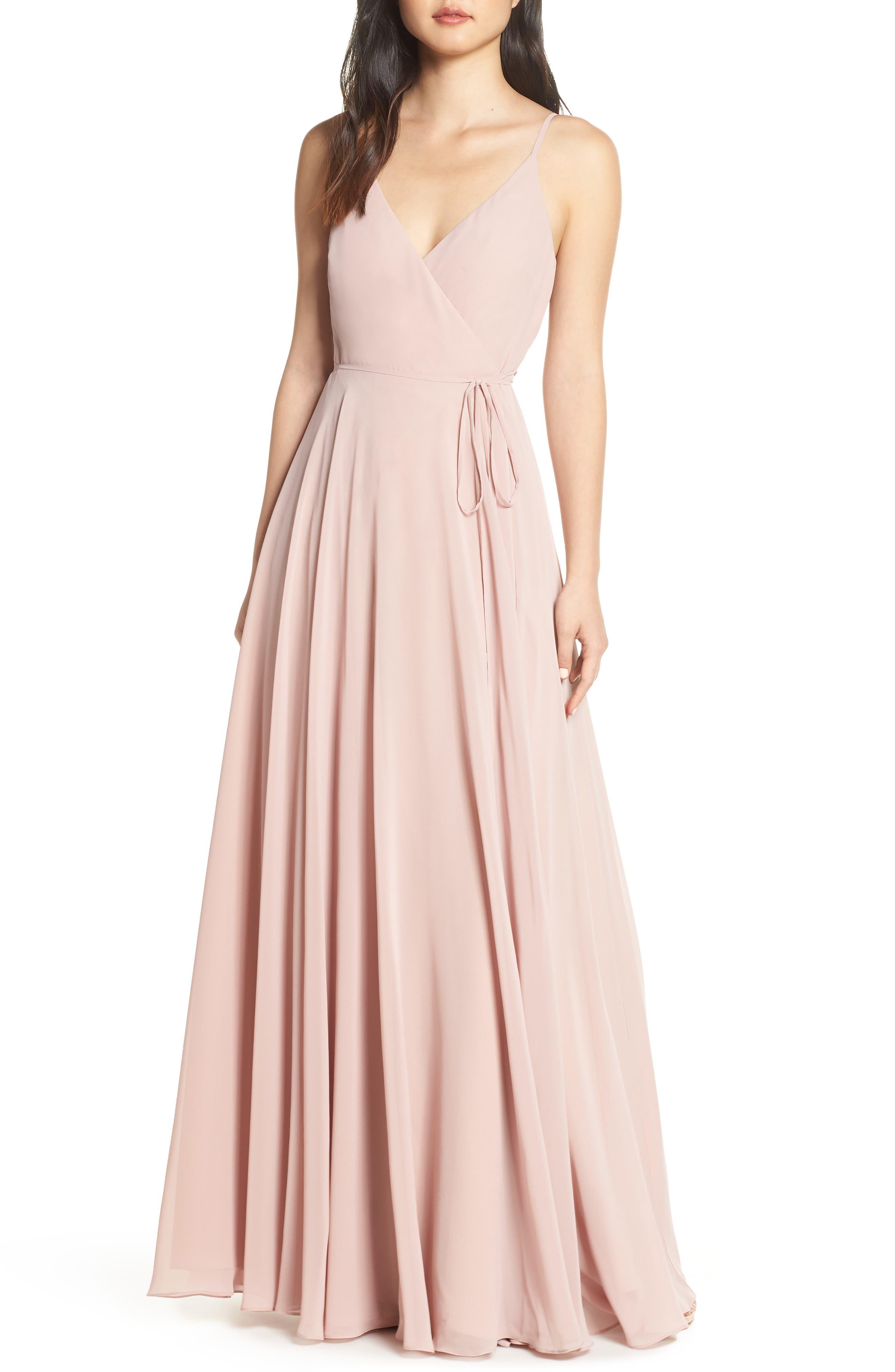 Jenny Yoo James Sleeveless Wrap Chiffon Evening Dress, Pink