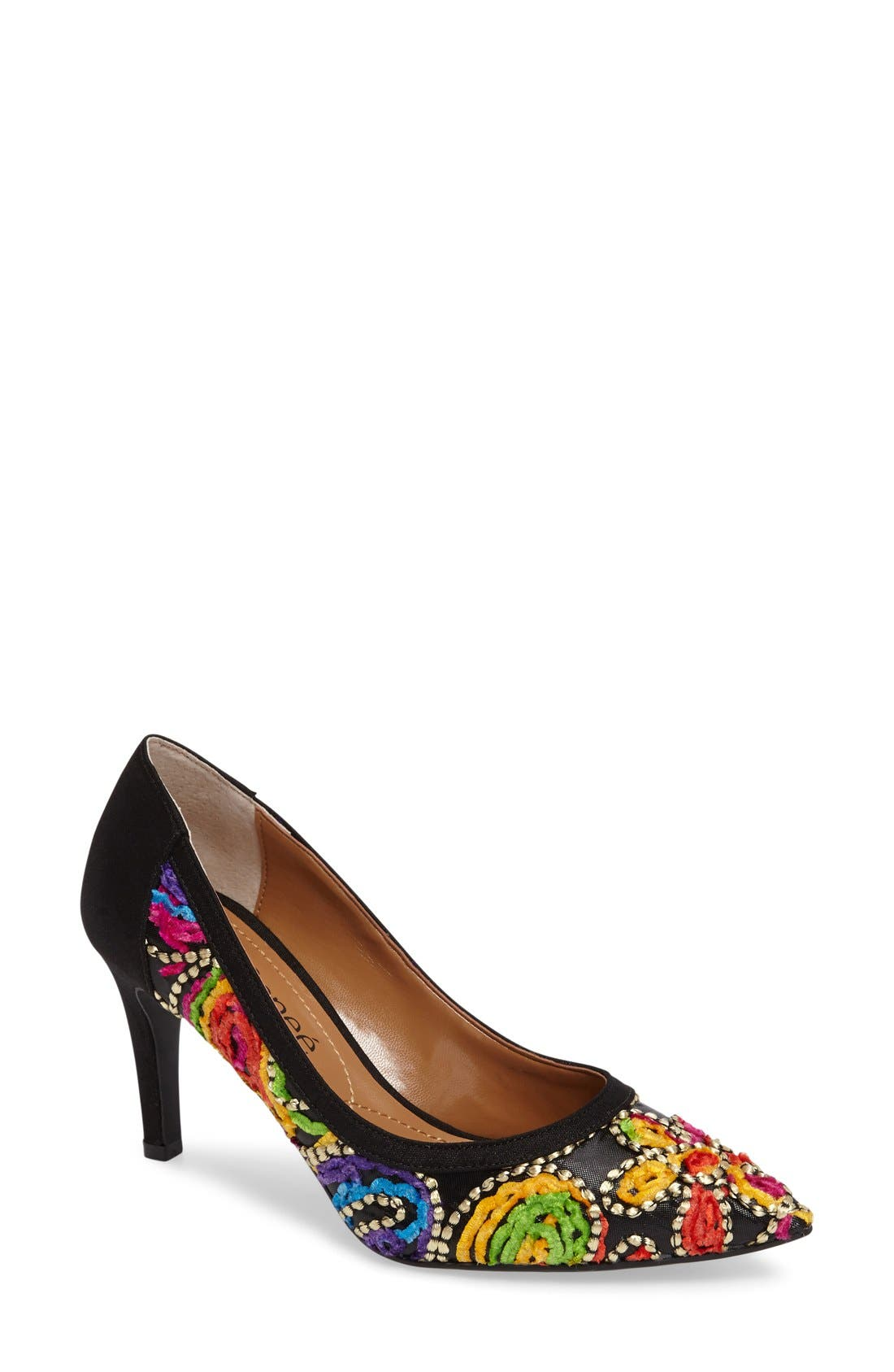 Camall Embroidered Pointy Toe Pump,                             Main thumbnail 1, color,                             002