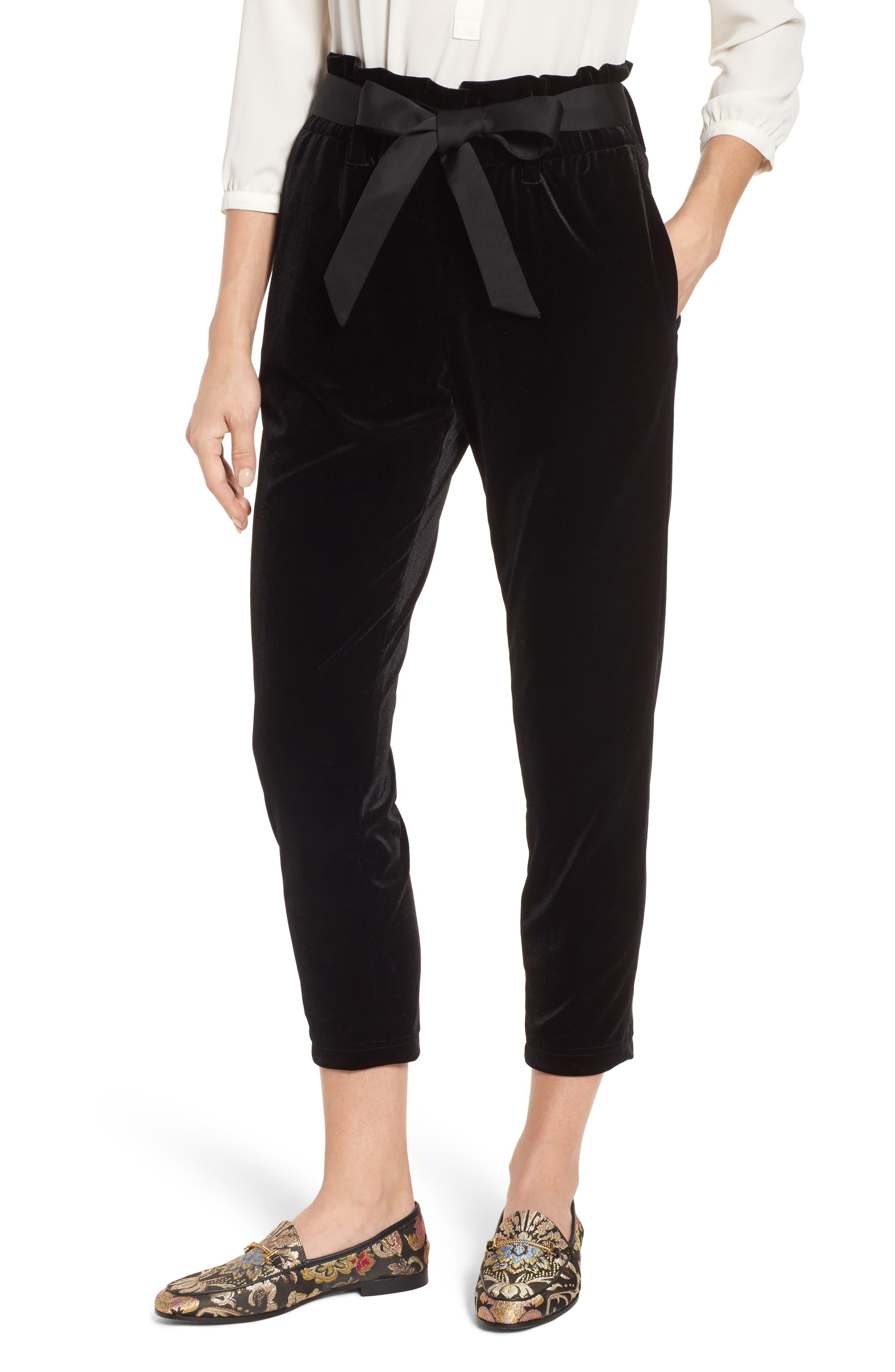 Tie Waist Velvet Pants,                         Main,                         color, 001