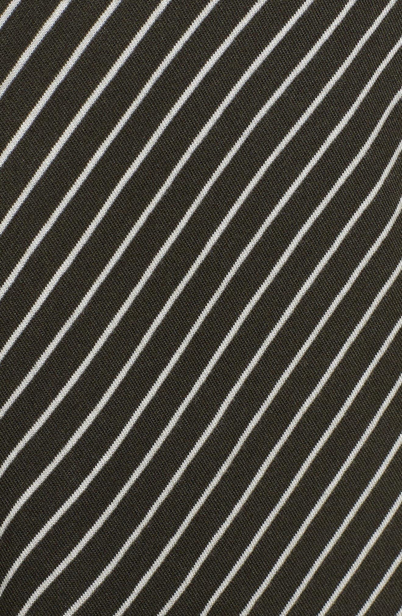 Chevron Stripe Midi Dress,                             Alternate thumbnail 6, color,                             OLIVE/IVORY