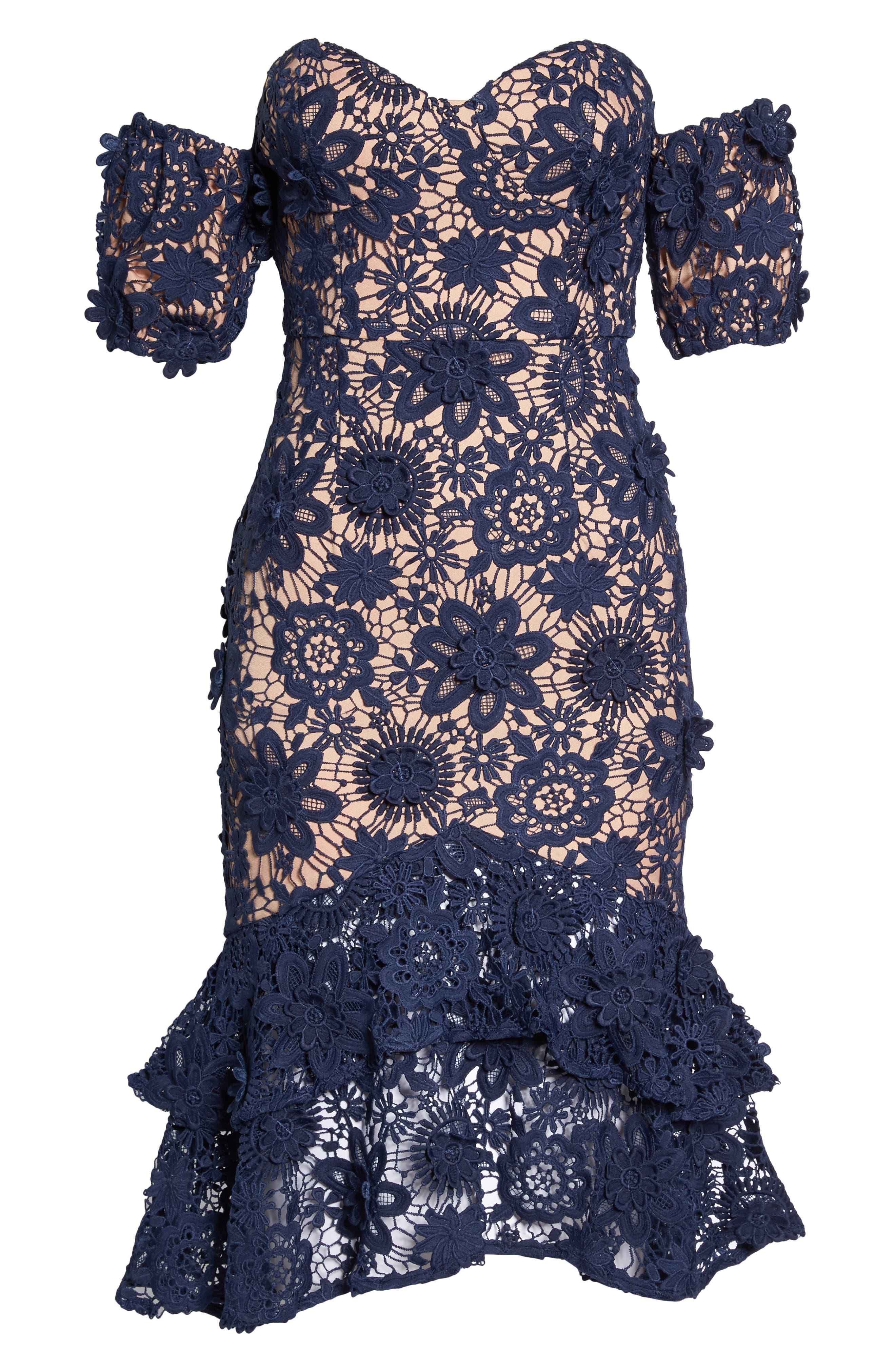 Merrilee Off the Shoulder 3D Lace Dress,                             Alternate thumbnail 6, color,                             NAVY