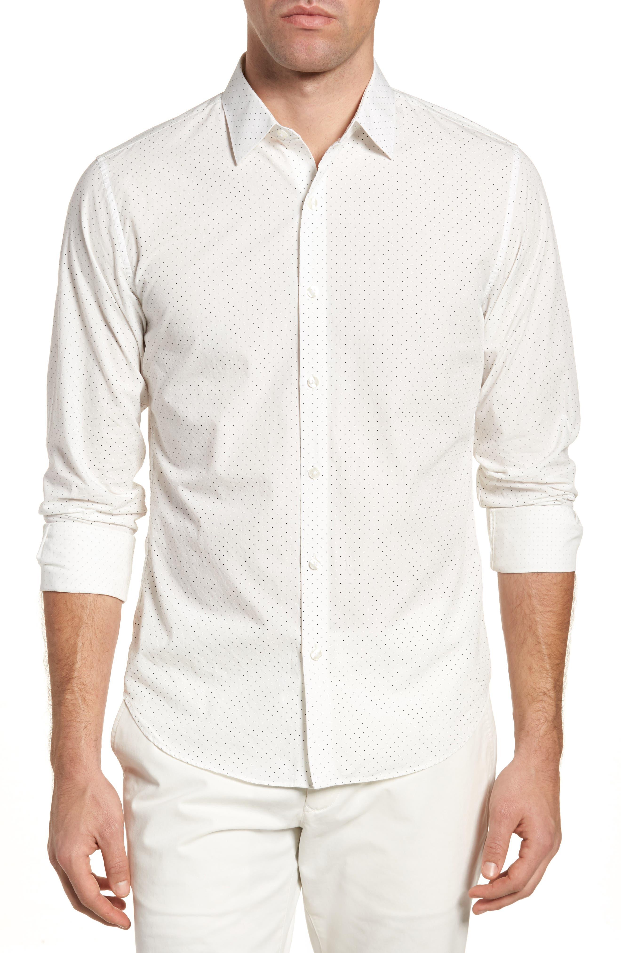 Unbutton Down 2.0 Slim Fit Dot Sport Shirt,                             Main thumbnail 1, color,                             100