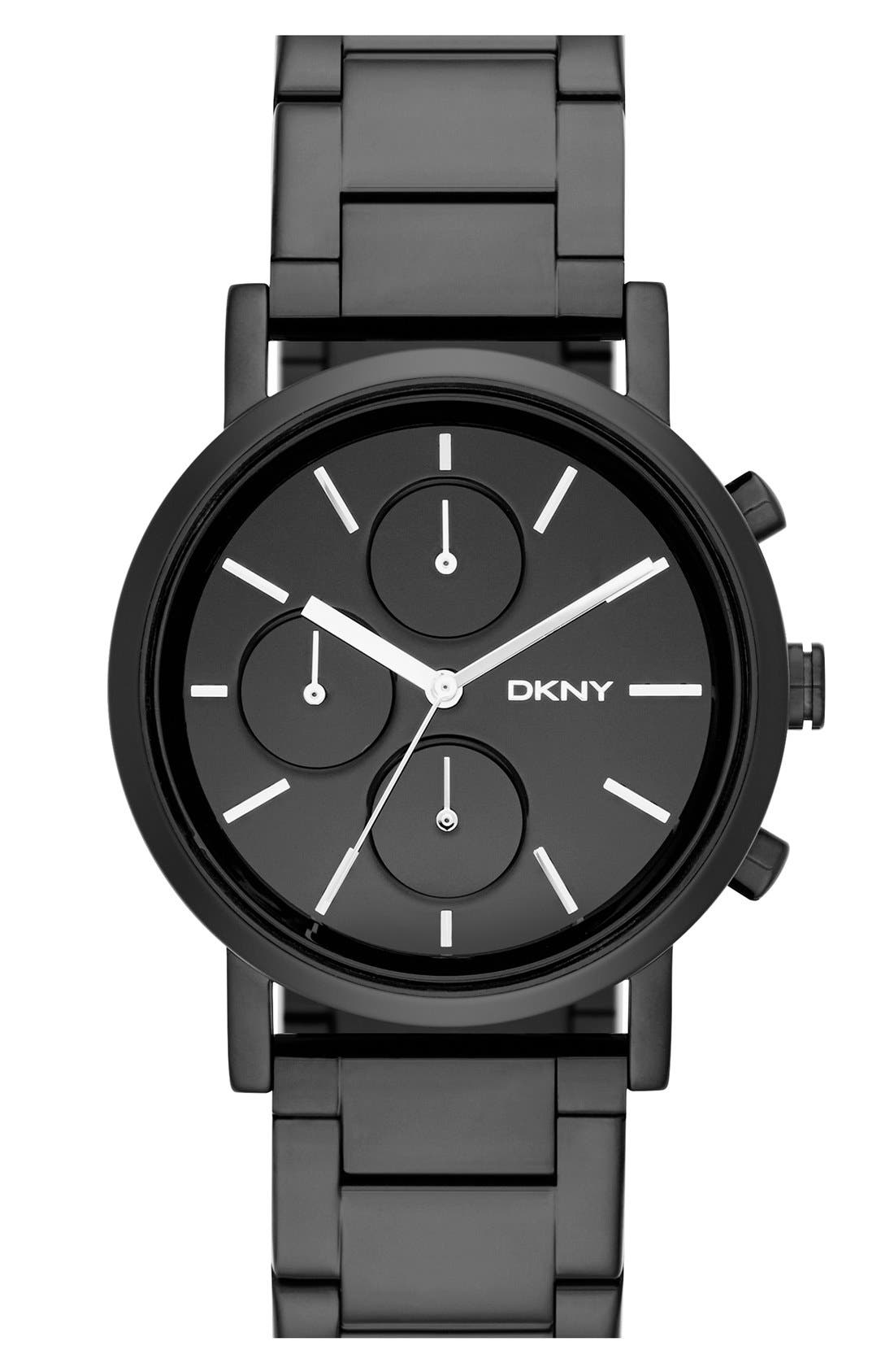 DKNY Mirror Dial Chronograph Bracelet Watch, 38mm, Main, color, 001
