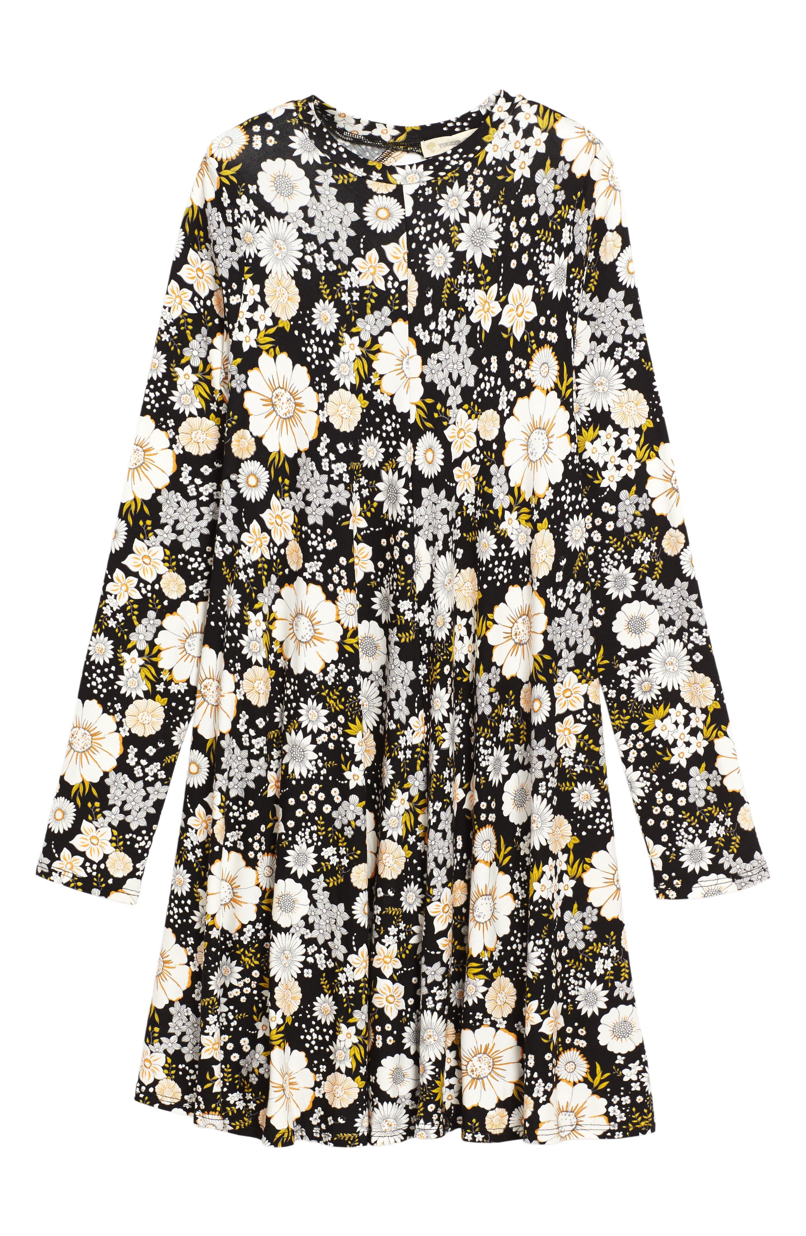 Floral Print Knit A-Line Dress,                             Main thumbnail 1, color,                             001