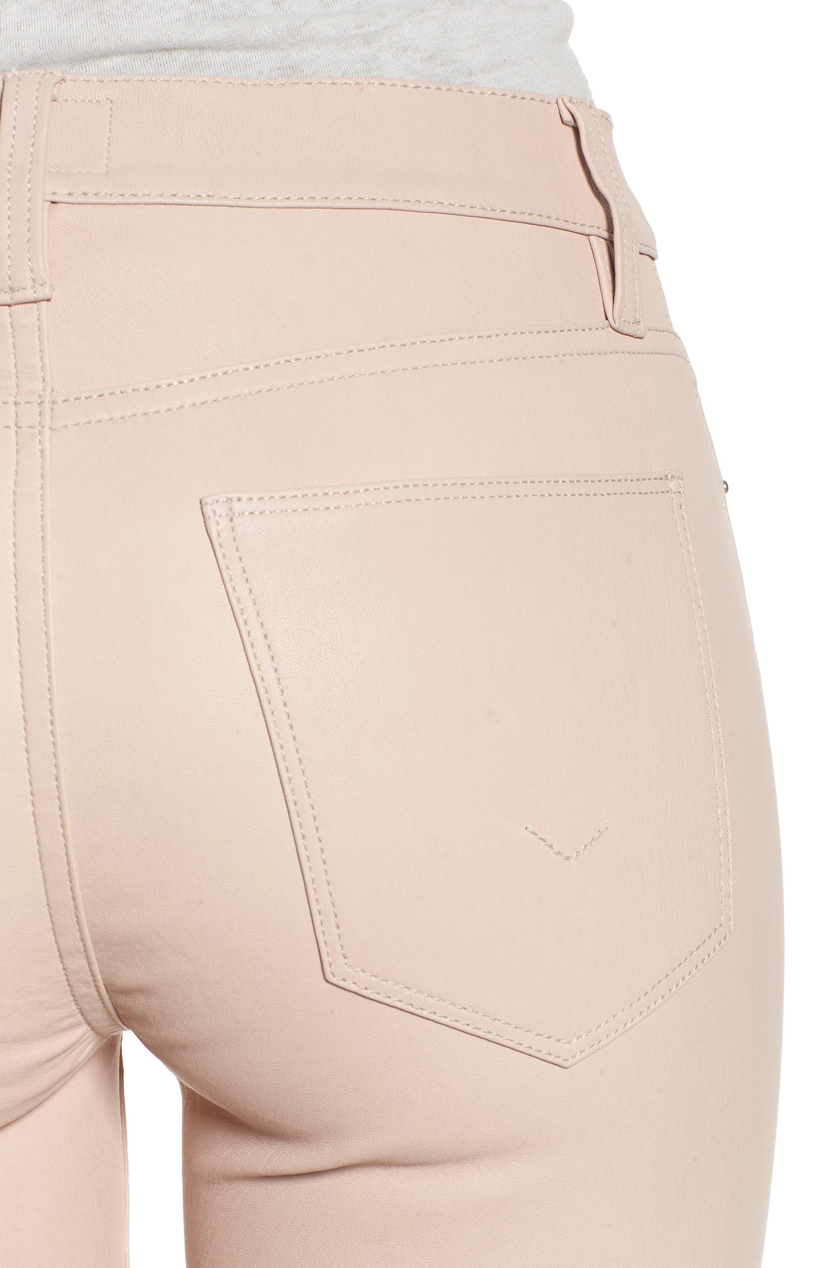 Barbara High Waist Ankle Skinny Leather Jeans,                             Alternate thumbnail 4, color,                             BLUSHING