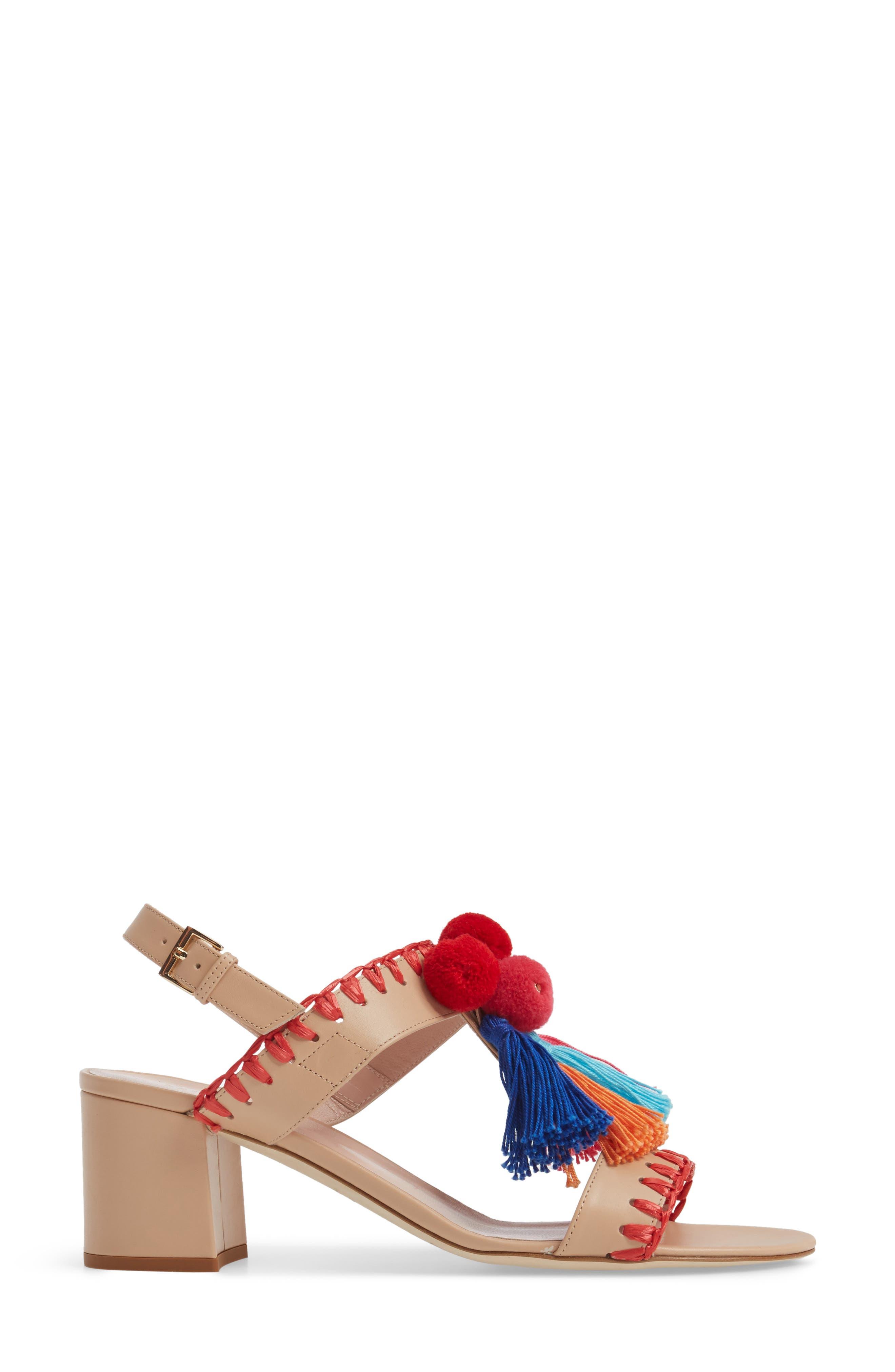 mcdougal pom tassel sandal,                             Alternate thumbnail 3, color,                             278