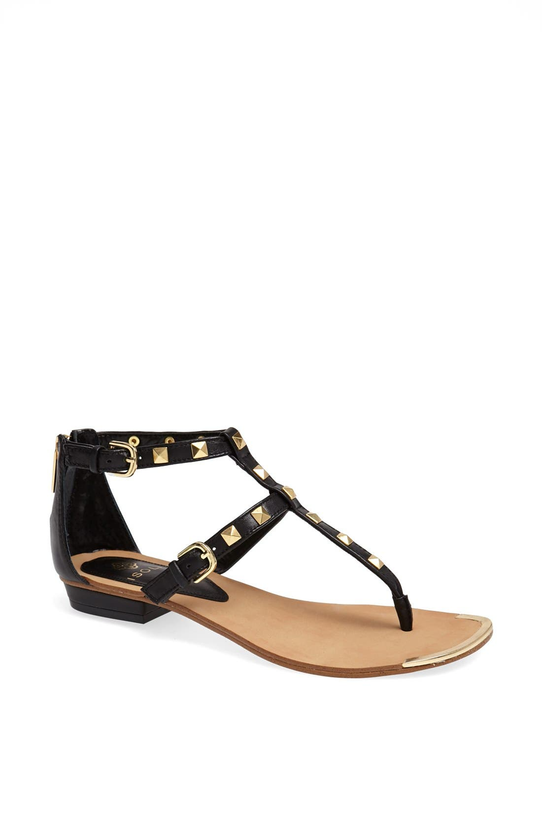 'Adie' Studded Leather Thong Sandal,                             Main thumbnail 1, color,                             001