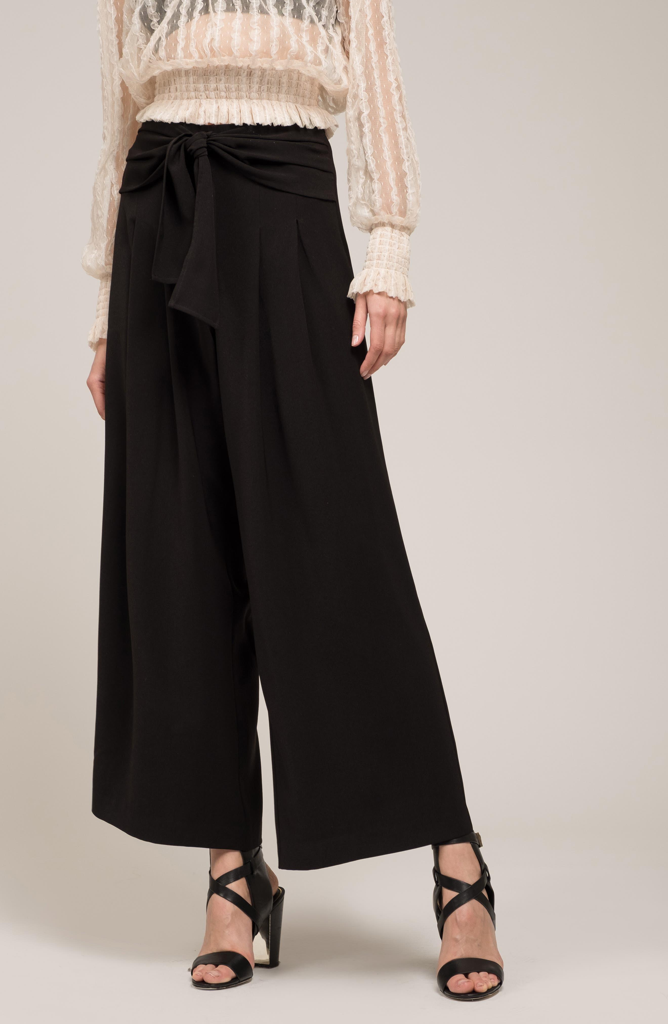 Tie Waist Wide Leg Pants,                             Alternate thumbnail 7, color,                             BLACK