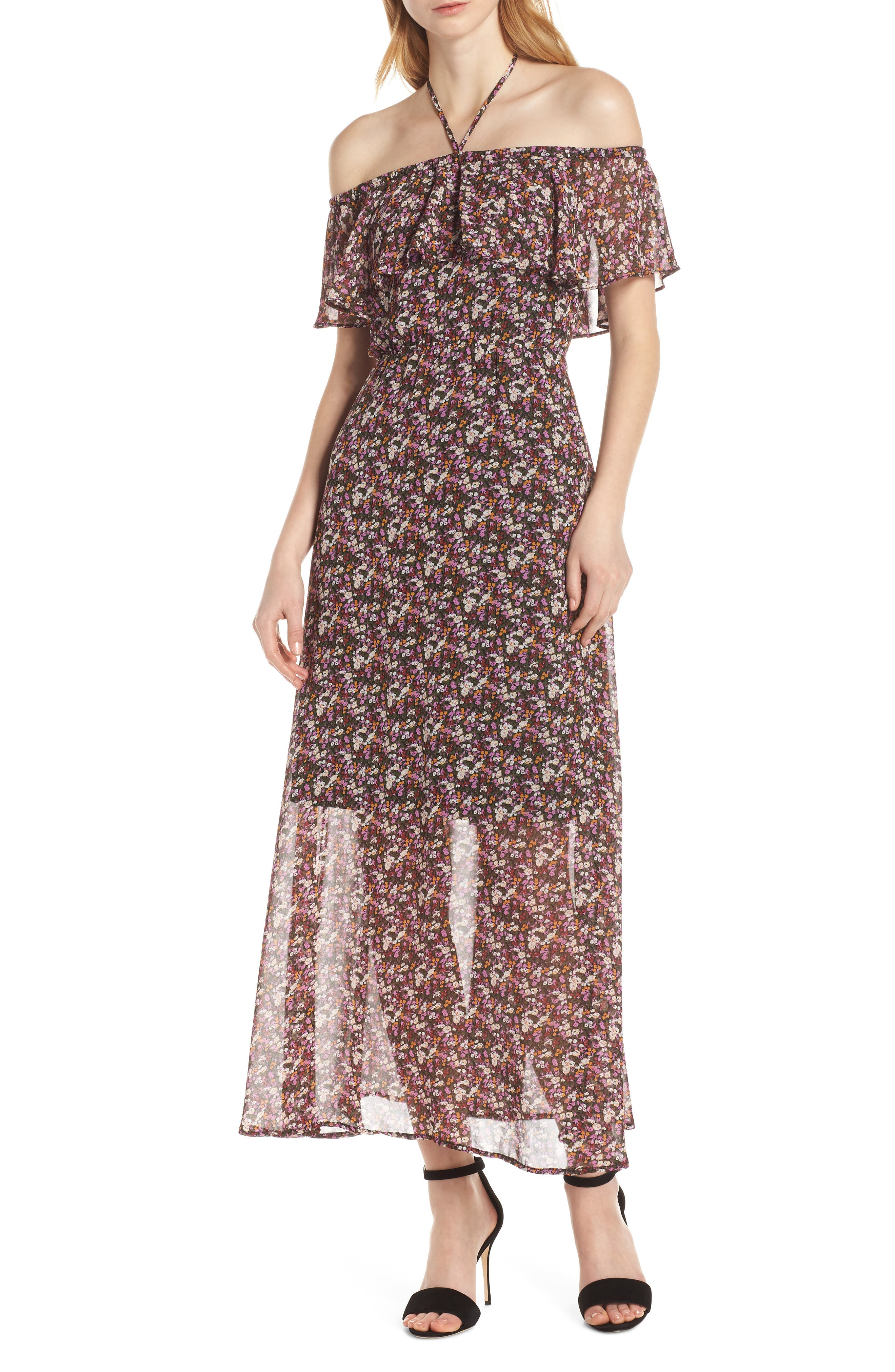 Sam Edelman Ditsy Floral Off The Shoulder Chiffon Maxi Dress, Pink