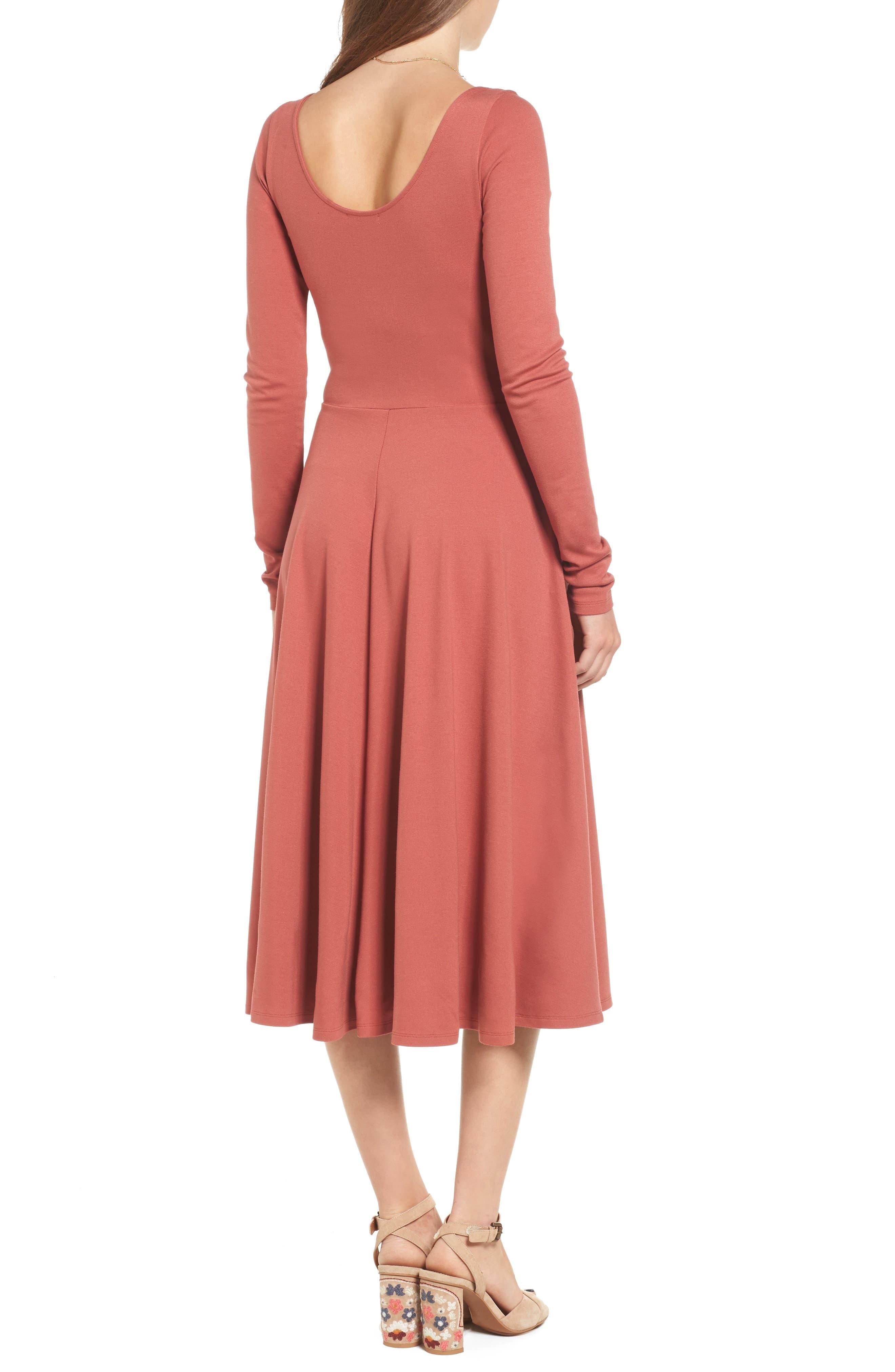 Long Sleeve Midi Dress,                             Alternate thumbnail 2, color,                             221