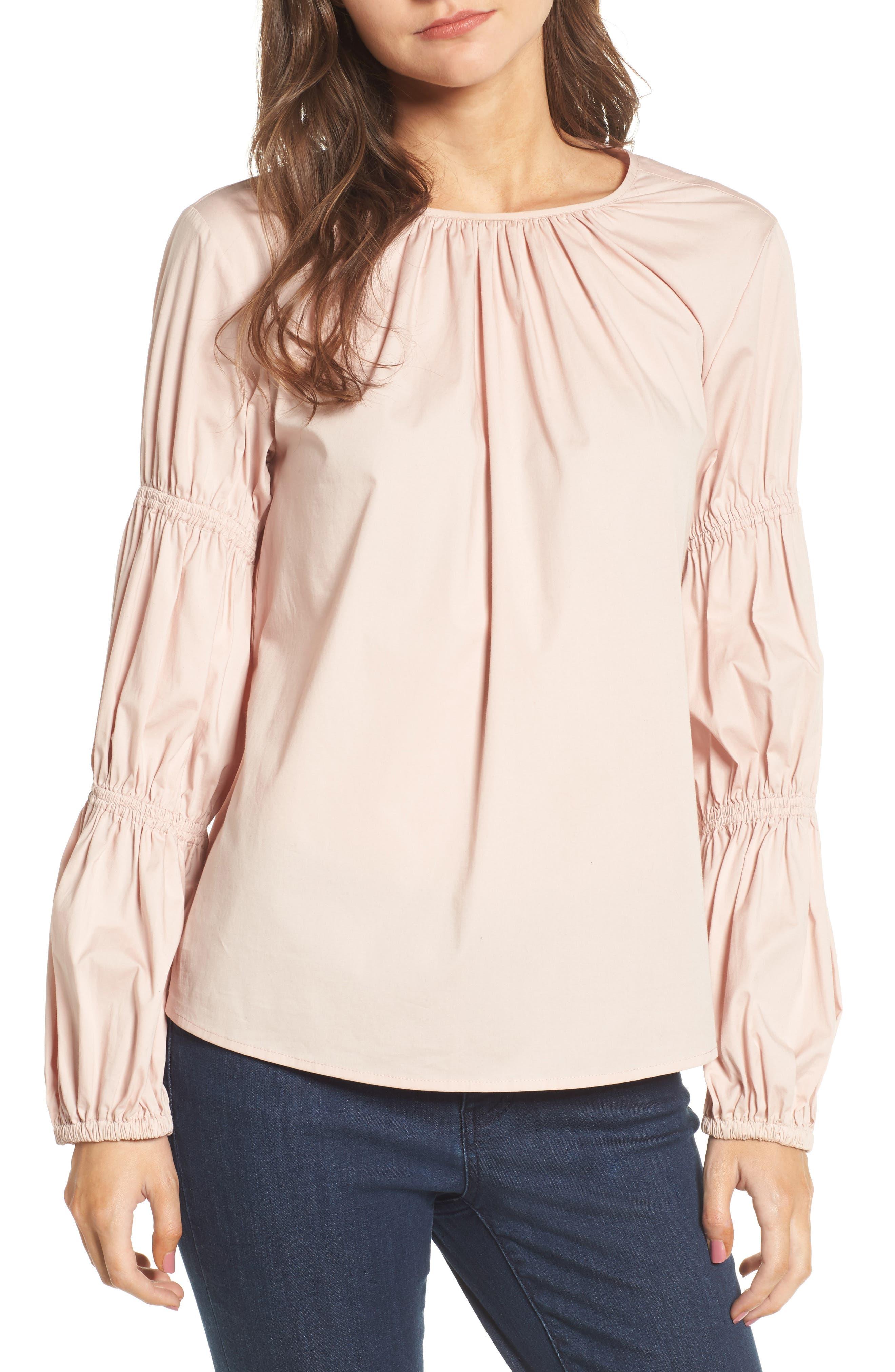 Smocked Poplin Shirt,                             Main thumbnail 3, color,