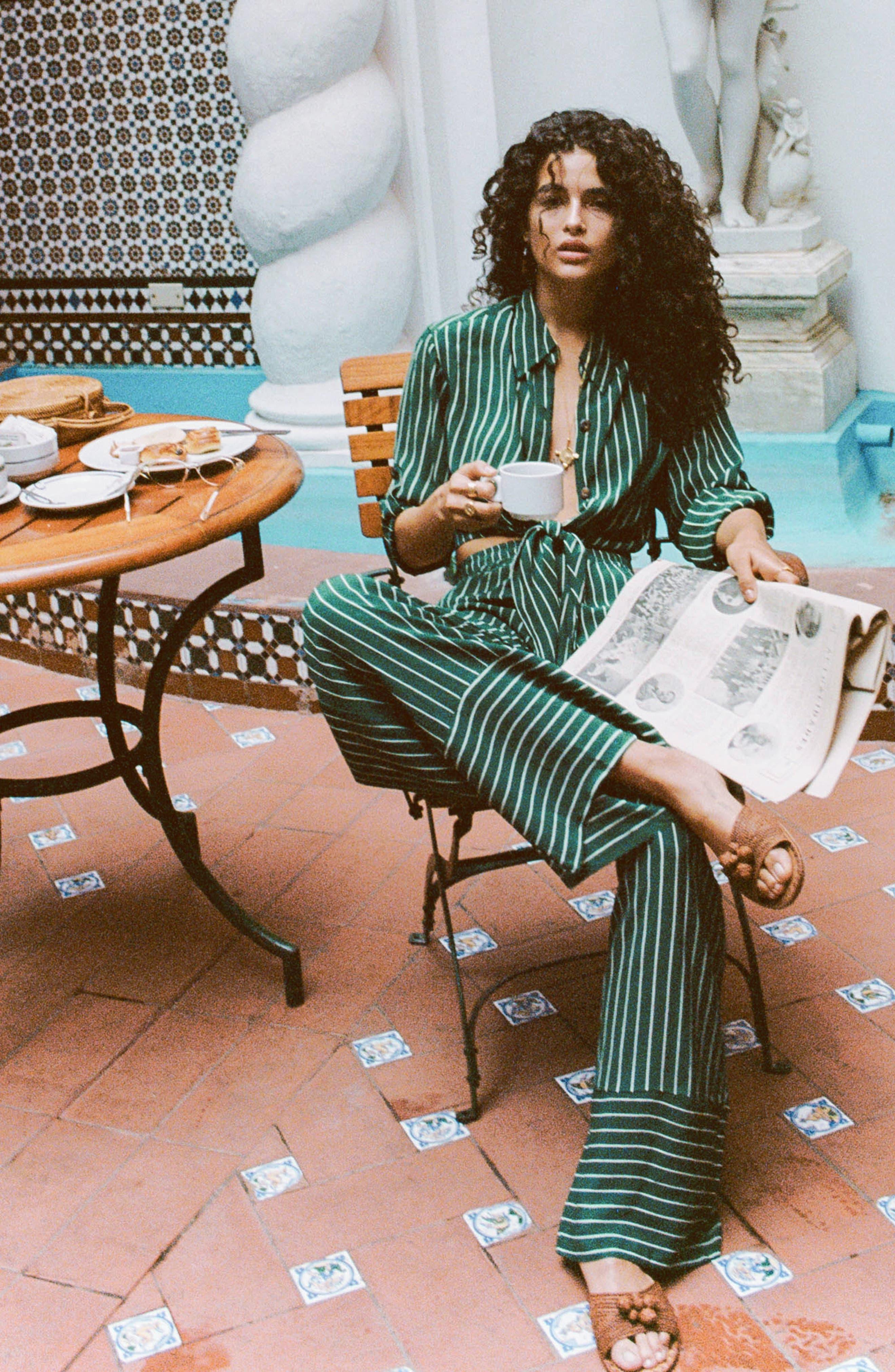 Havana High Waist Stripe Pants,                             Alternate thumbnail 7, color,                             PASEO STRIPE