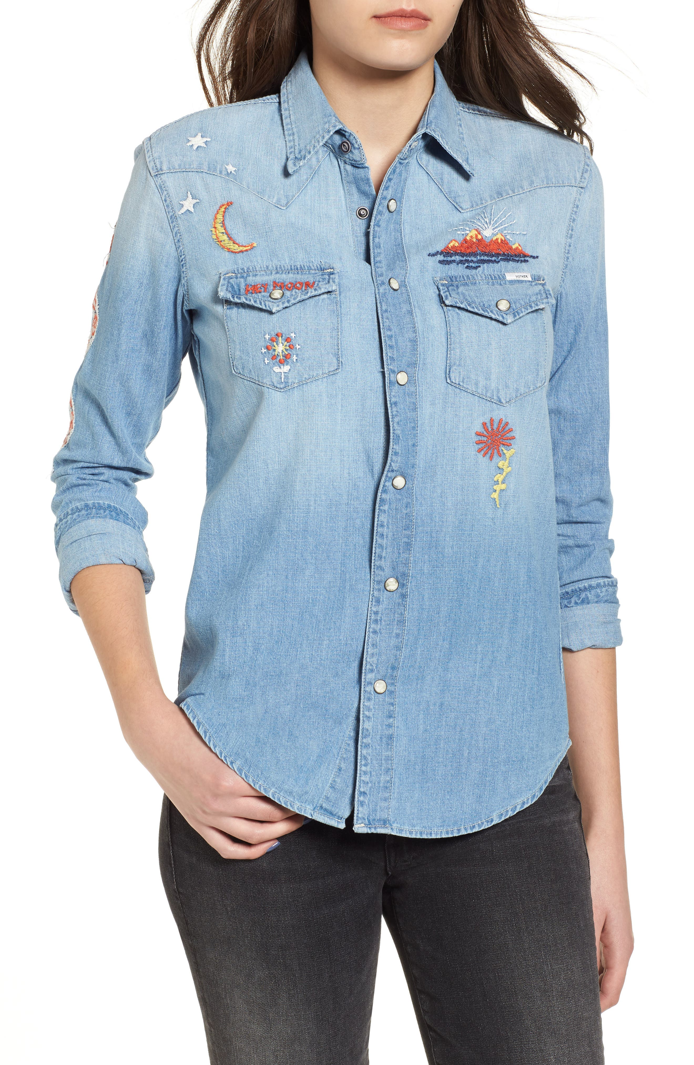 All My Ex's Embroidered Denim Shirt, Main, color, 400