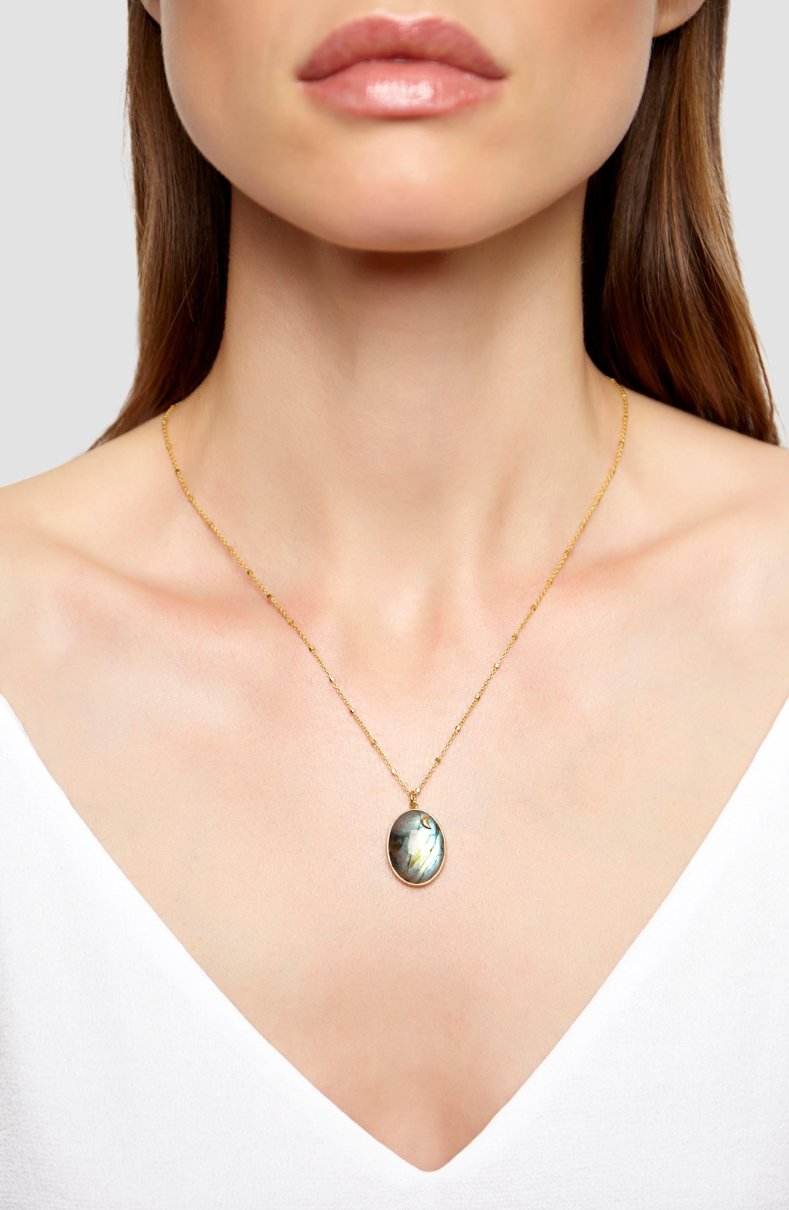 ARGENTO VIVO,                             Moon Labradorite Pendant Necklace,                             Alternate thumbnail 2, color,                             710