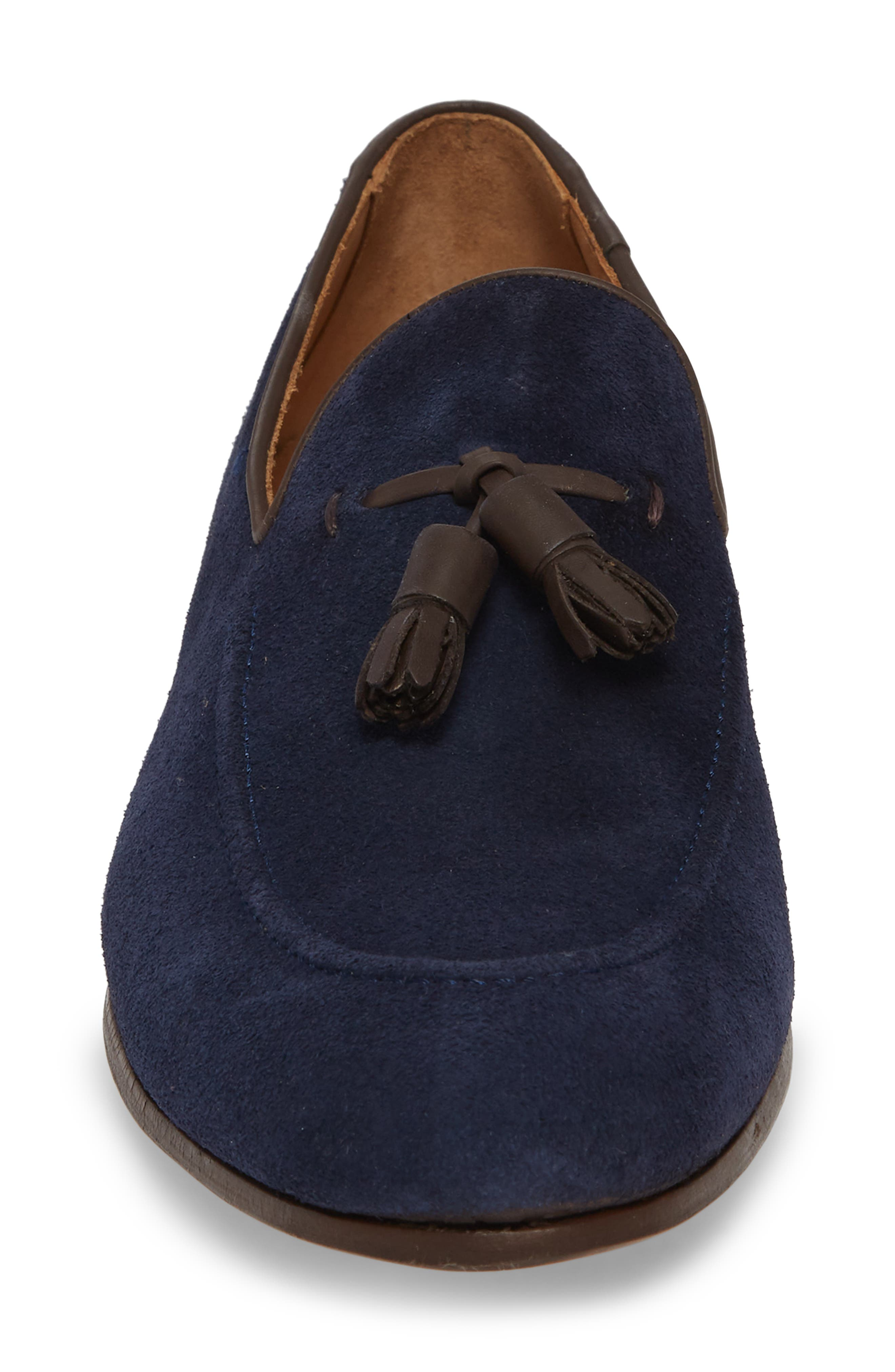 Ario Tassel Loafer,                             Alternate thumbnail 4, color,                             NAVY SUEDE