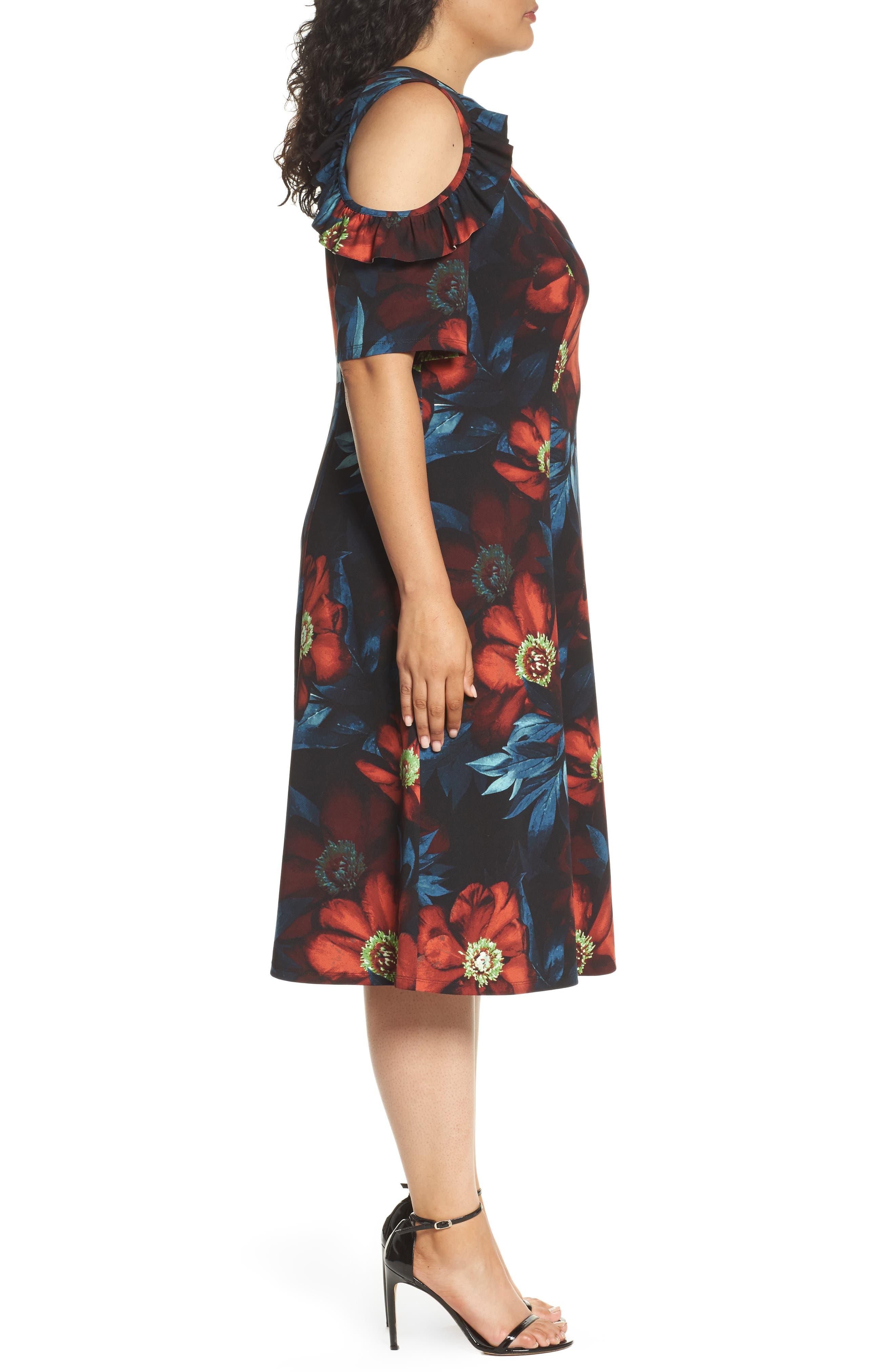 Cold Shoulder Floral A-Line Dress,                             Alternate thumbnail 3, color,                             001