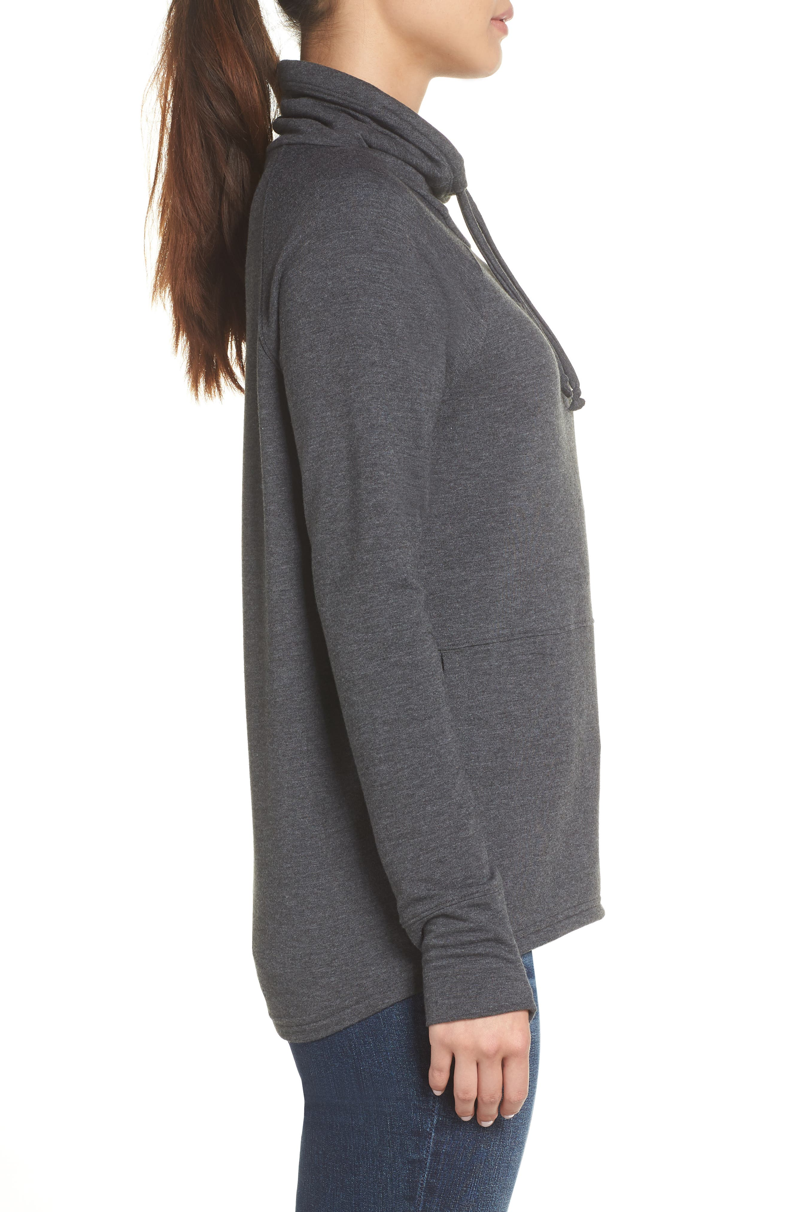 Funnel Neck Sweatshirt,                             Alternate thumbnail 3, color,                             TNF DARK GREY HEATHER