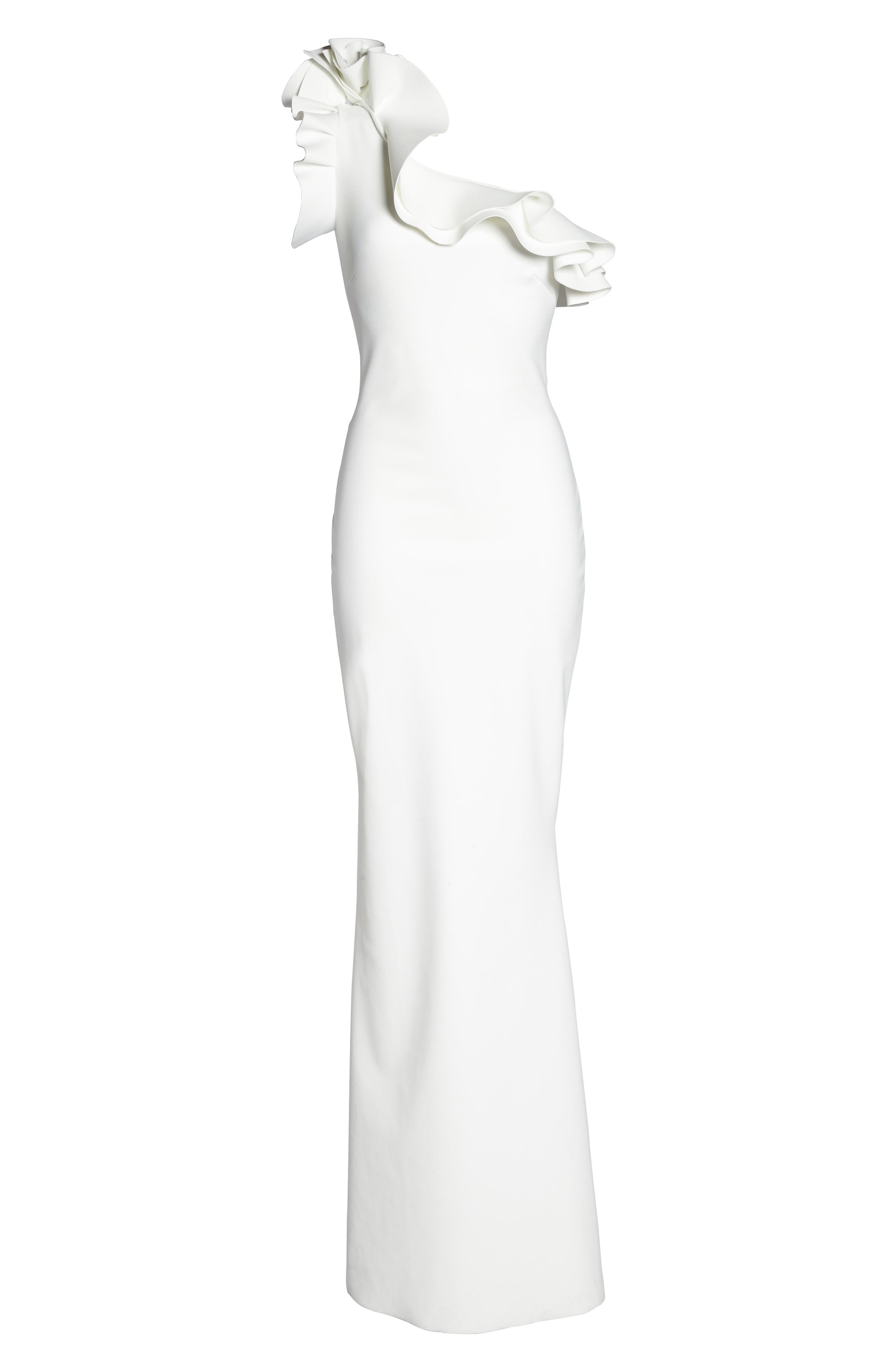 Elisir Ruffle One-Shoulder Gown,                             Alternate thumbnail 6, color,                             100