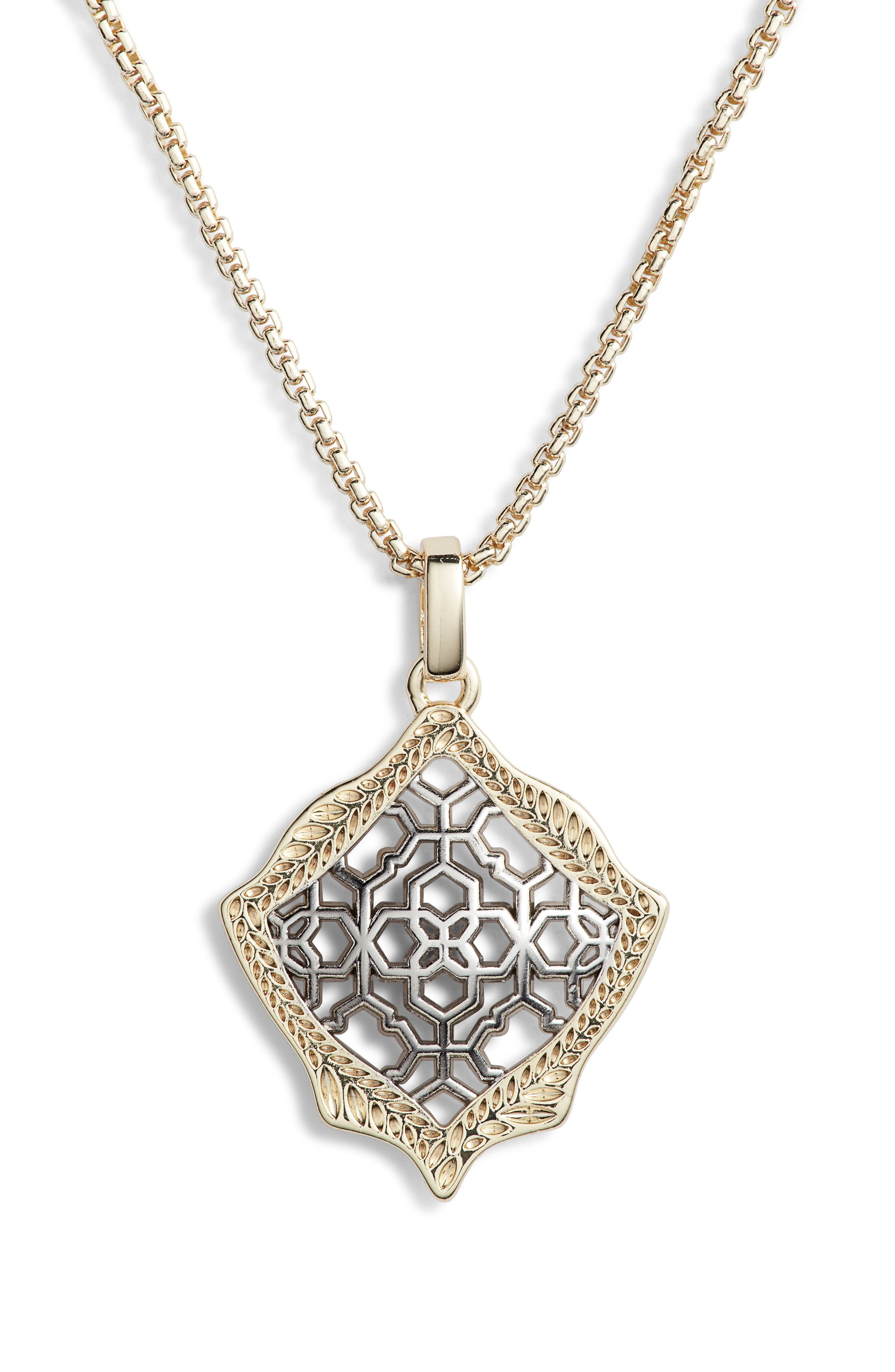 Kacey Pendant Necklace, Main, color, SILVER FILIGREE/ GOLD