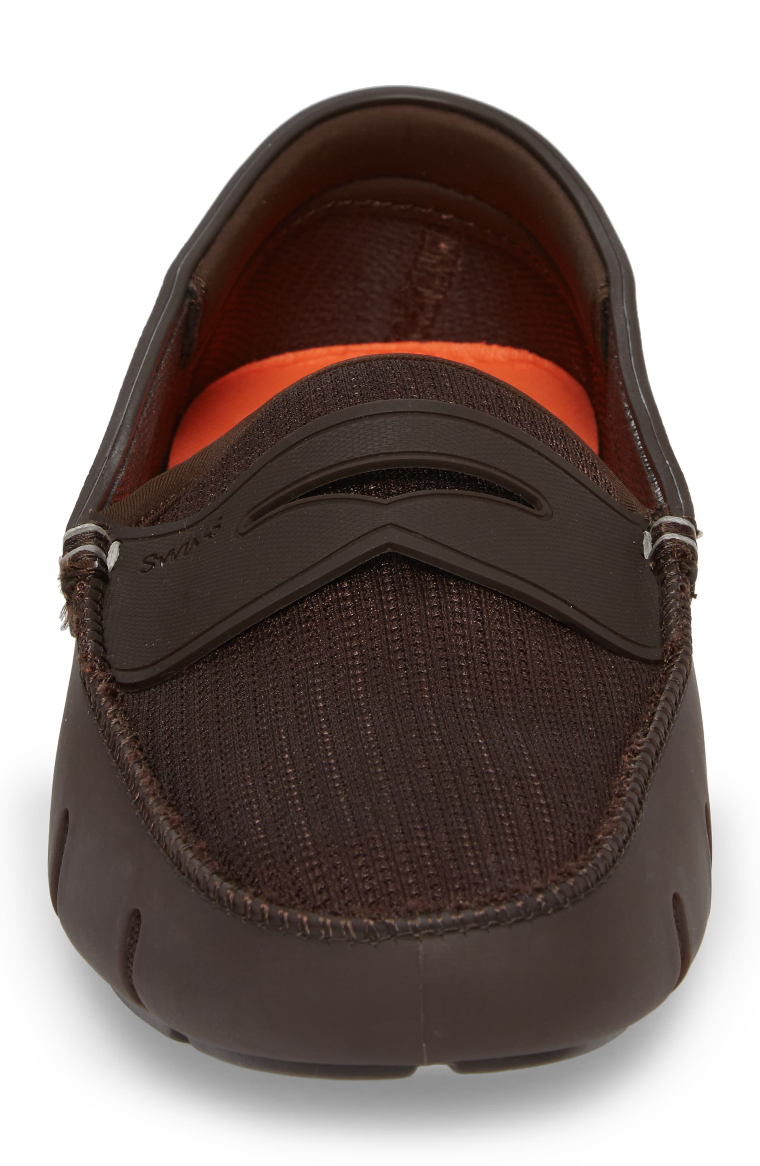 Washable Penny Loafer,                             Alternate thumbnail 4, color,                             BROWN FABRIC