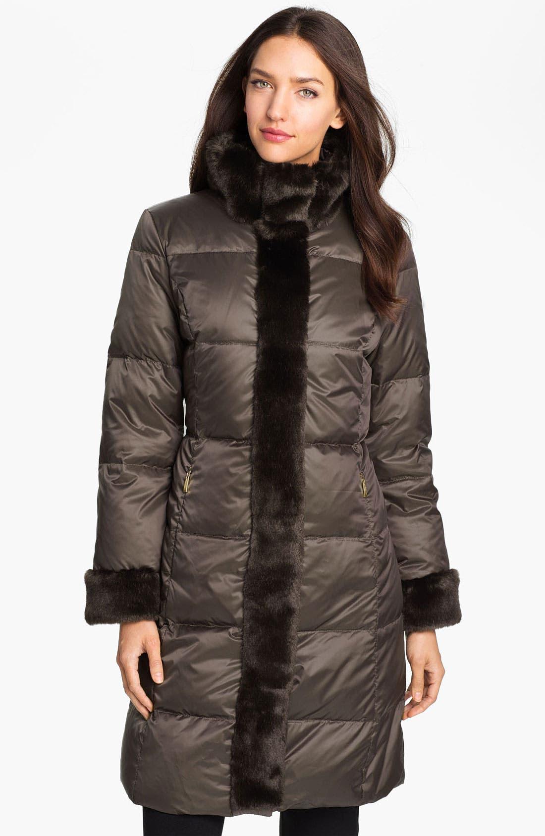 ELLEN TRACY Faux Fur Trim Quilted Coat, Main, color, 200