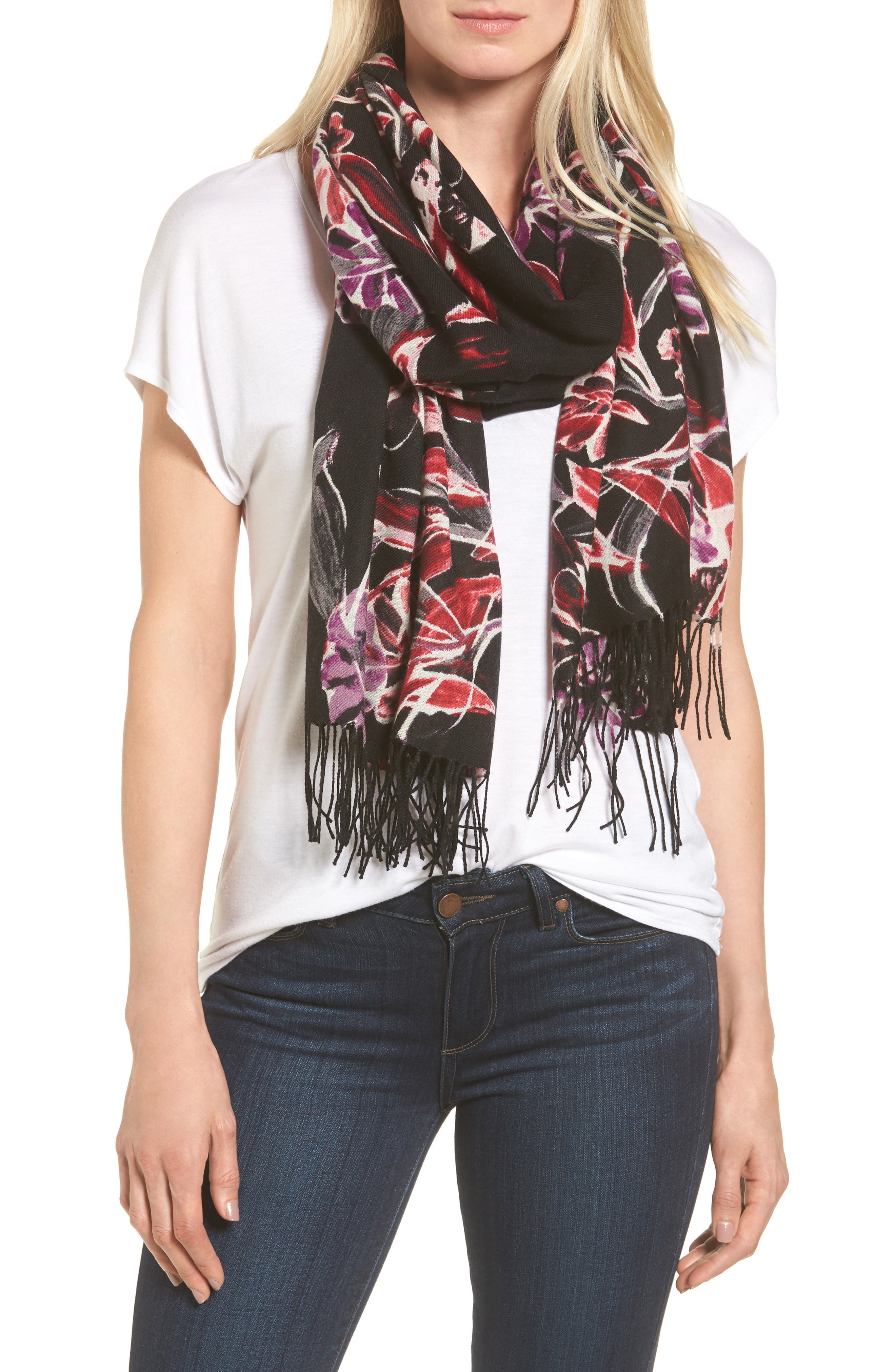Pressed Flowers Tissue Weight Wool & Cashmere Scarf,                             Main thumbnail 1, color,