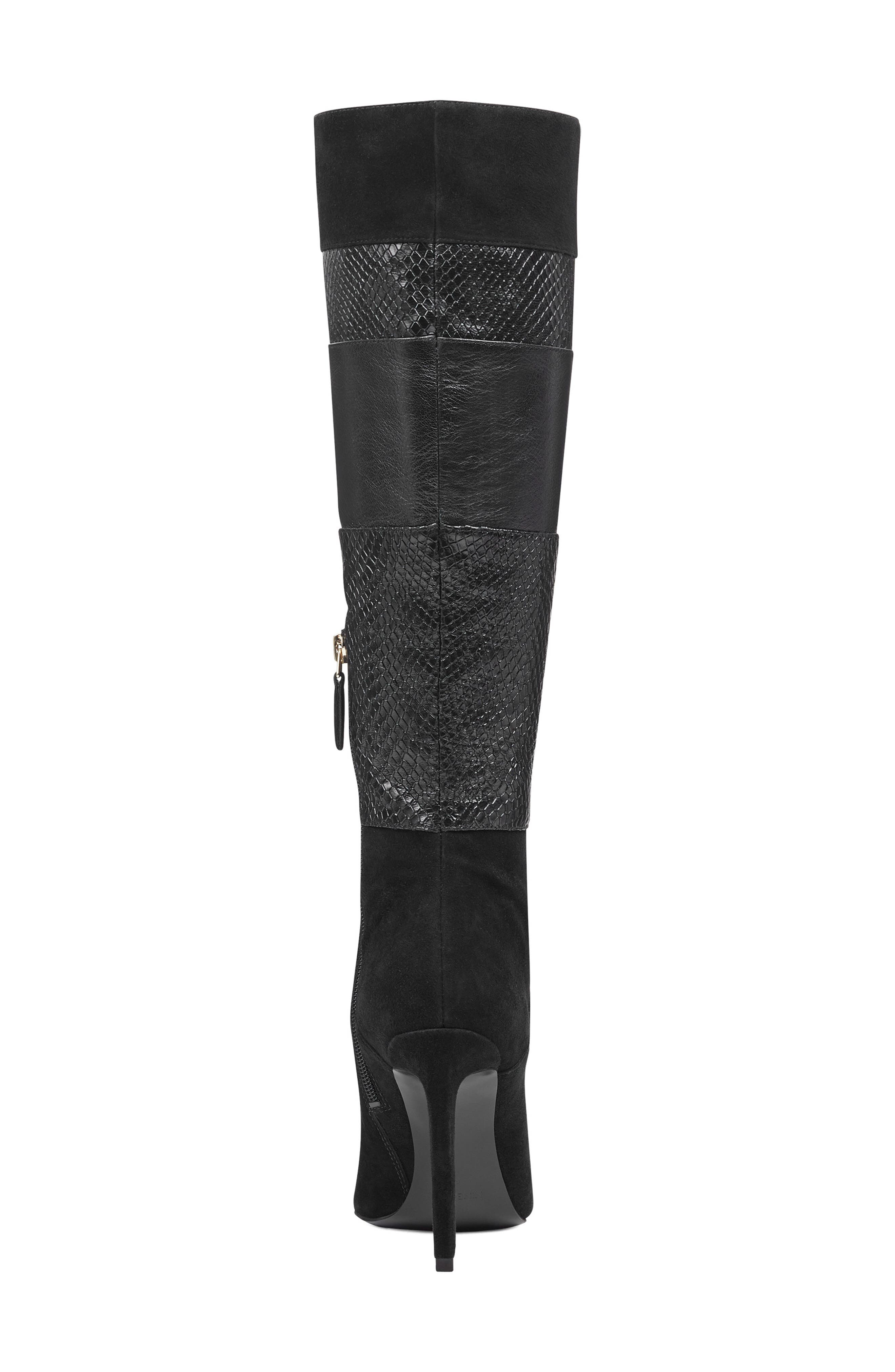 Toprank Blocked Knee High Boot,                             Alternate thumbnail 7, color,                             BLACK SUEDE