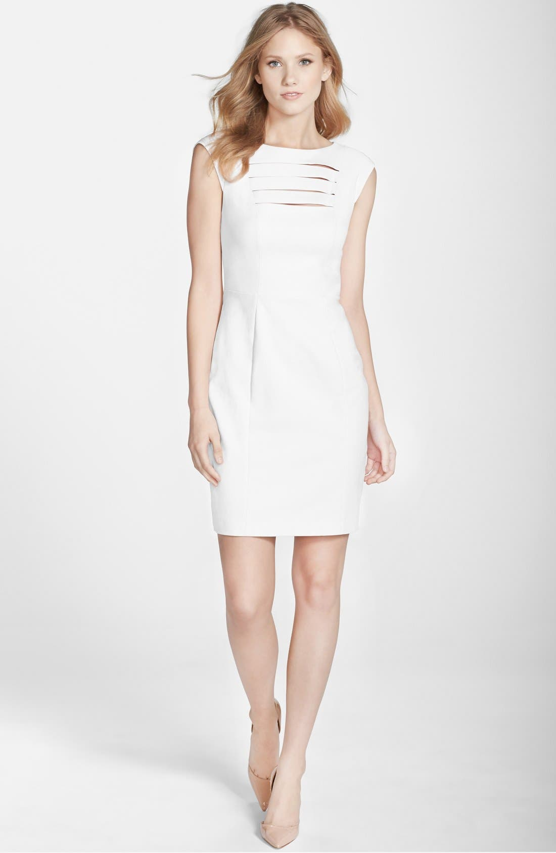 'Estelle' Bar Front Sheath Dress,                             Main thumbnail 1, color,                             100