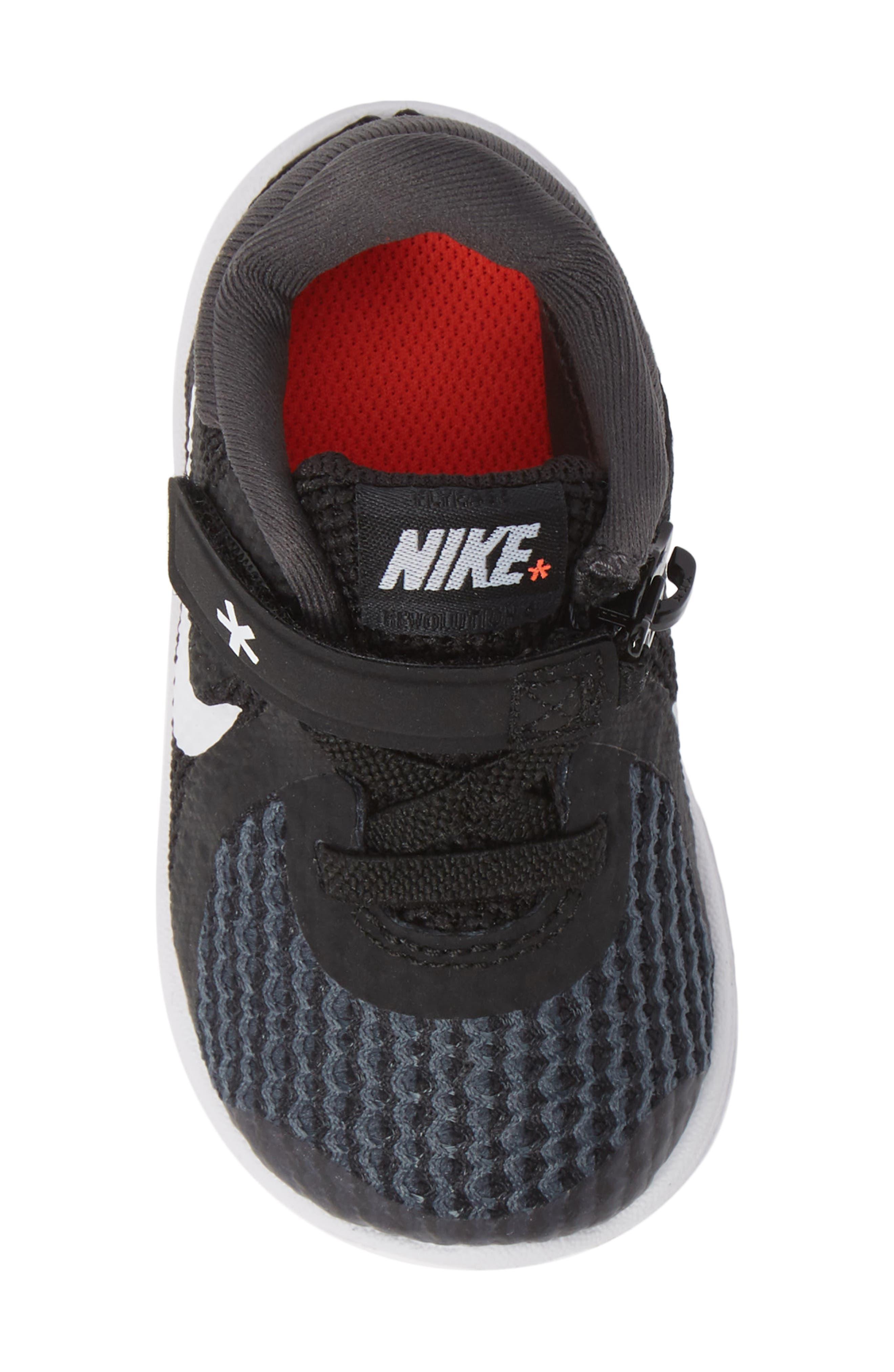 NIKE,                             Revolution 4 Flyease Sneaker,                             Alternate thumbnail 5, color,                             BLACK TOTAL CRIMSON