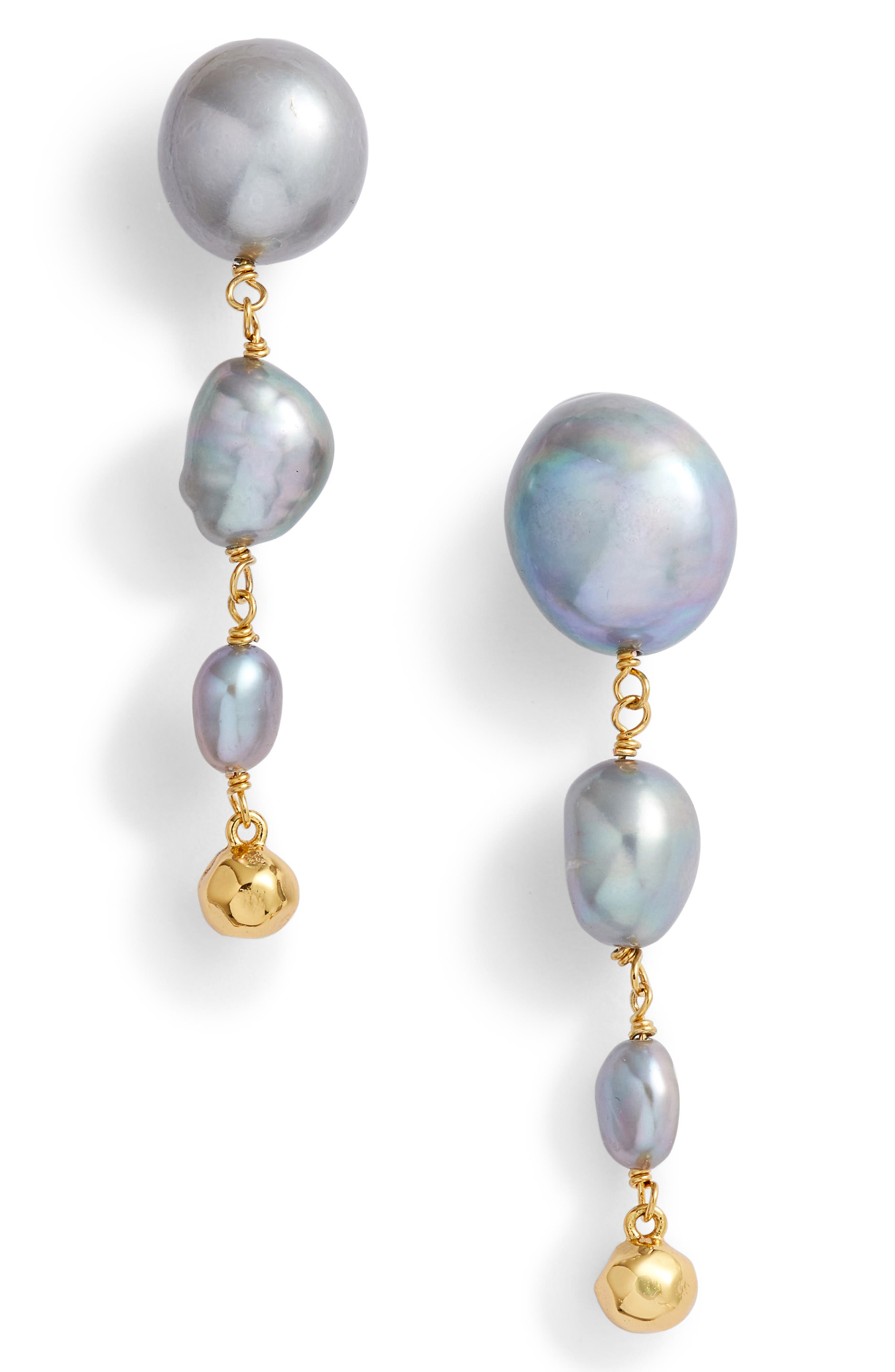 Vienna Freshwater Pearl Drop Earrings,                         Main,                         color, GREY PEARL/ GOLD