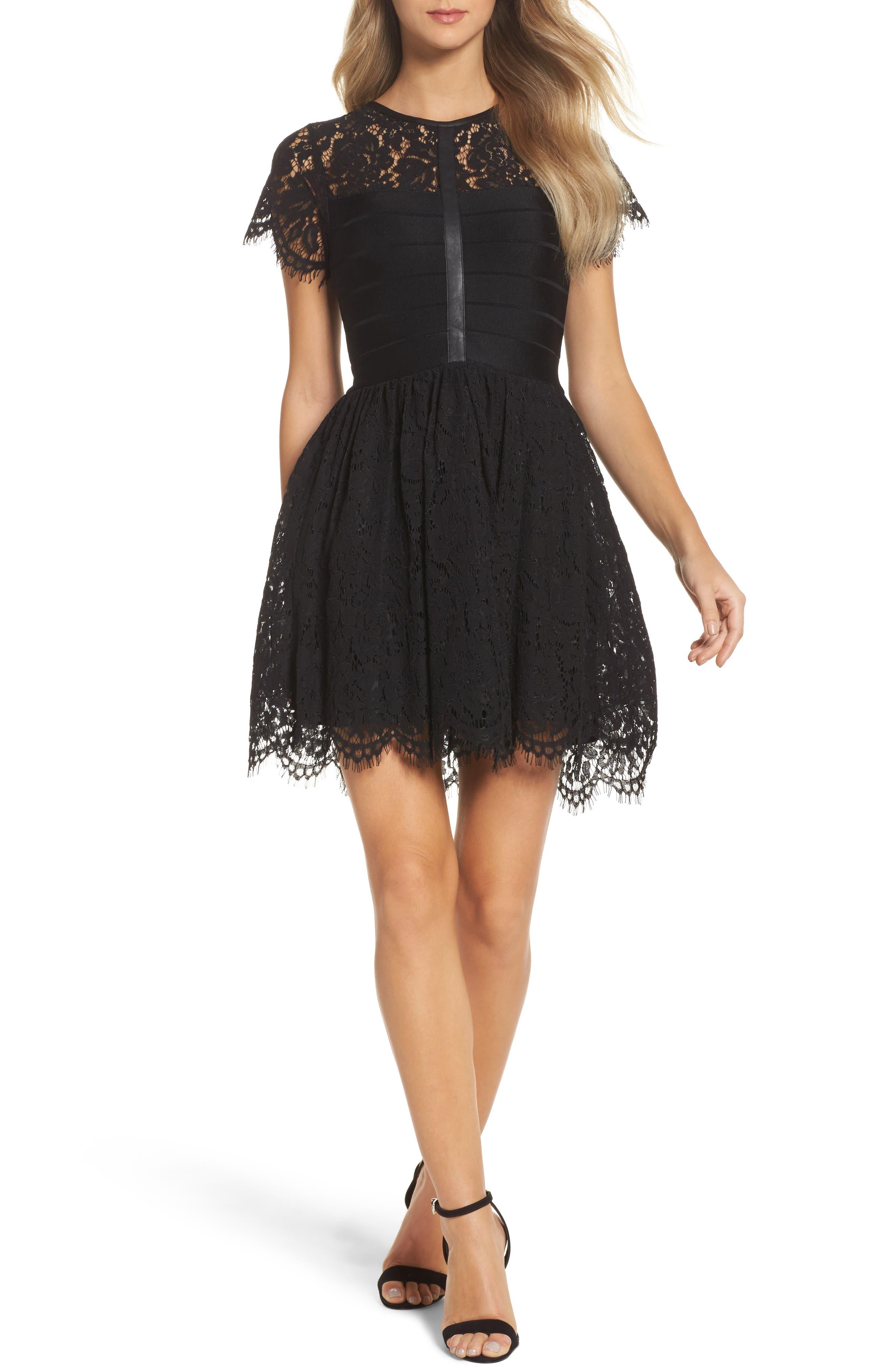 Shana Spotlight Lace Dress,                             Main thumbnail 1, color,                             BLACK