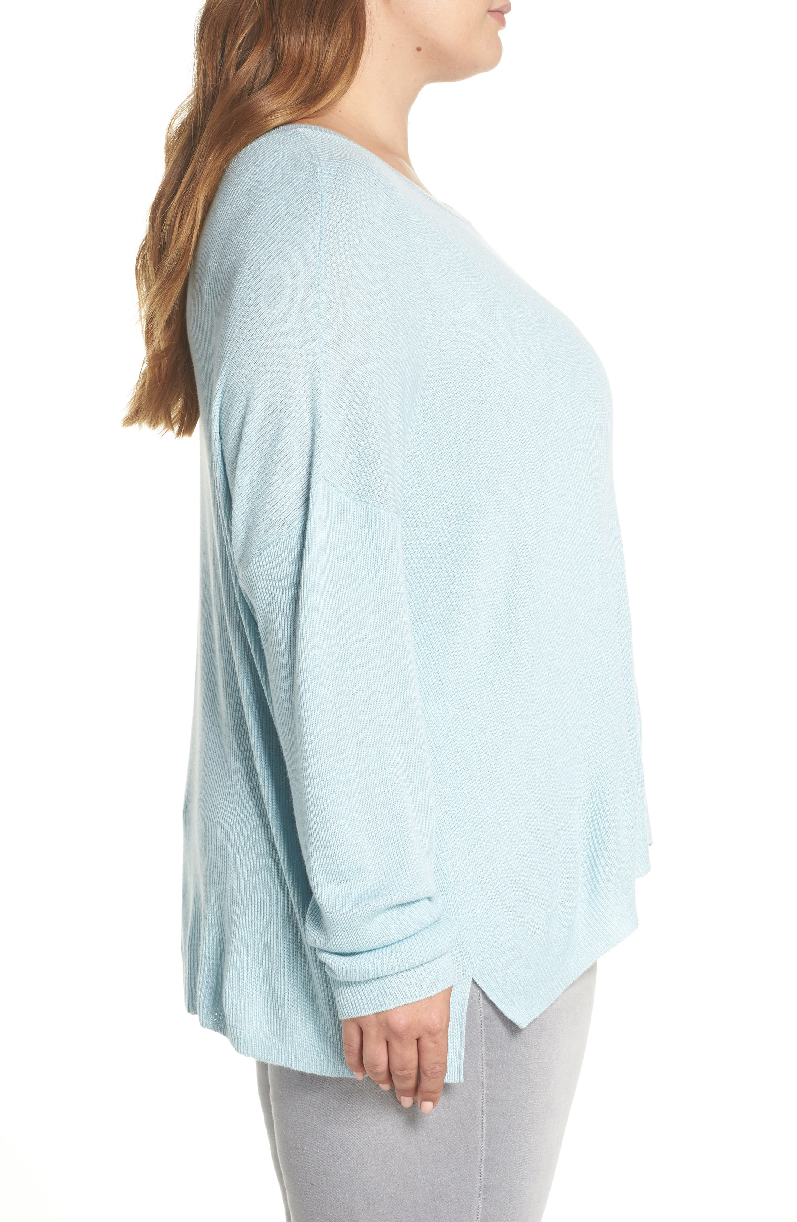 Drop Shoulder Ribbed Sweater,                             Alternate thumbnail 3, color,                             BLUE STERLING