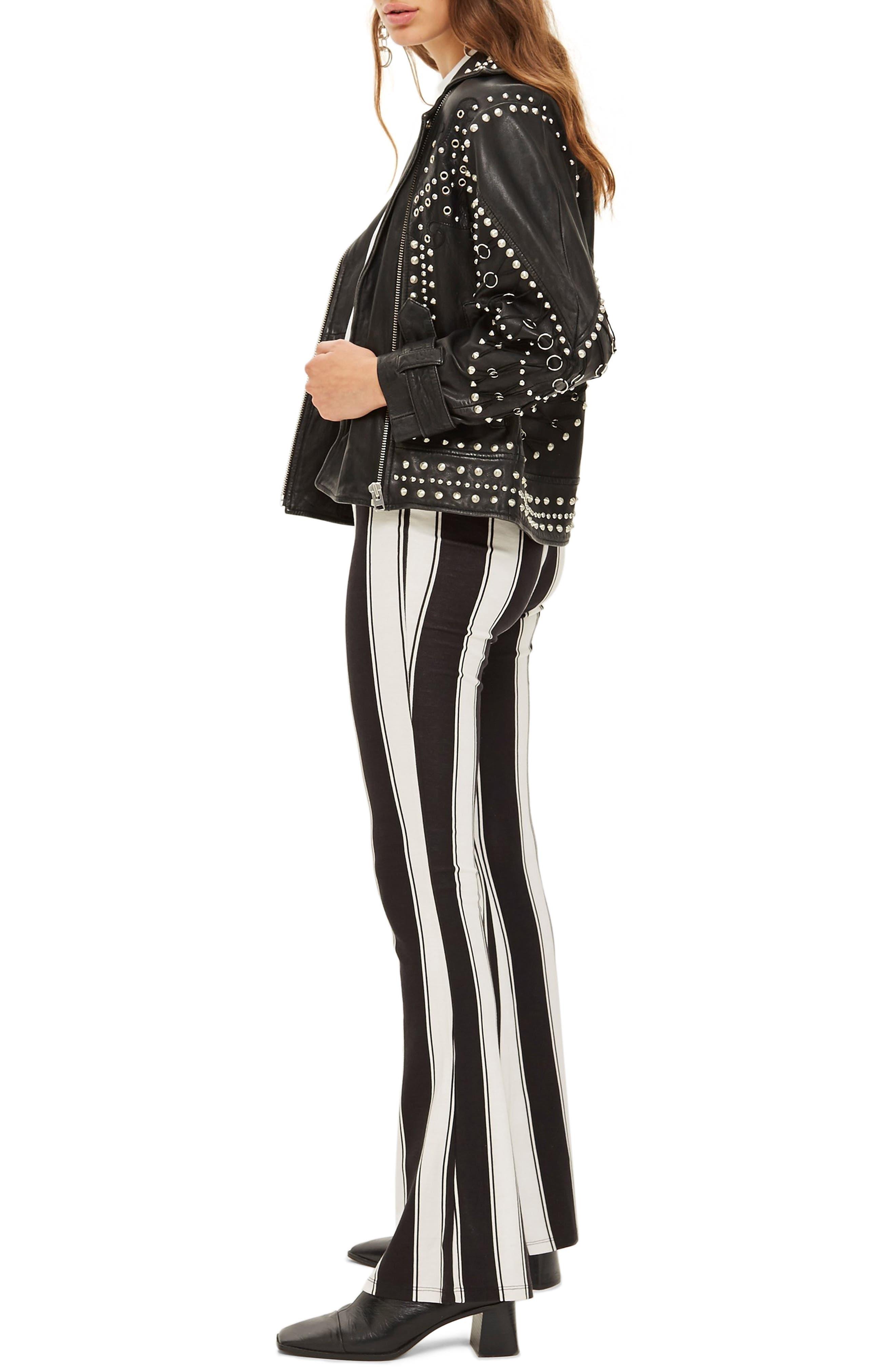 Stripe Flare Trousers,                             Alternate thumbnail 3, color,                             BLACK MULTI