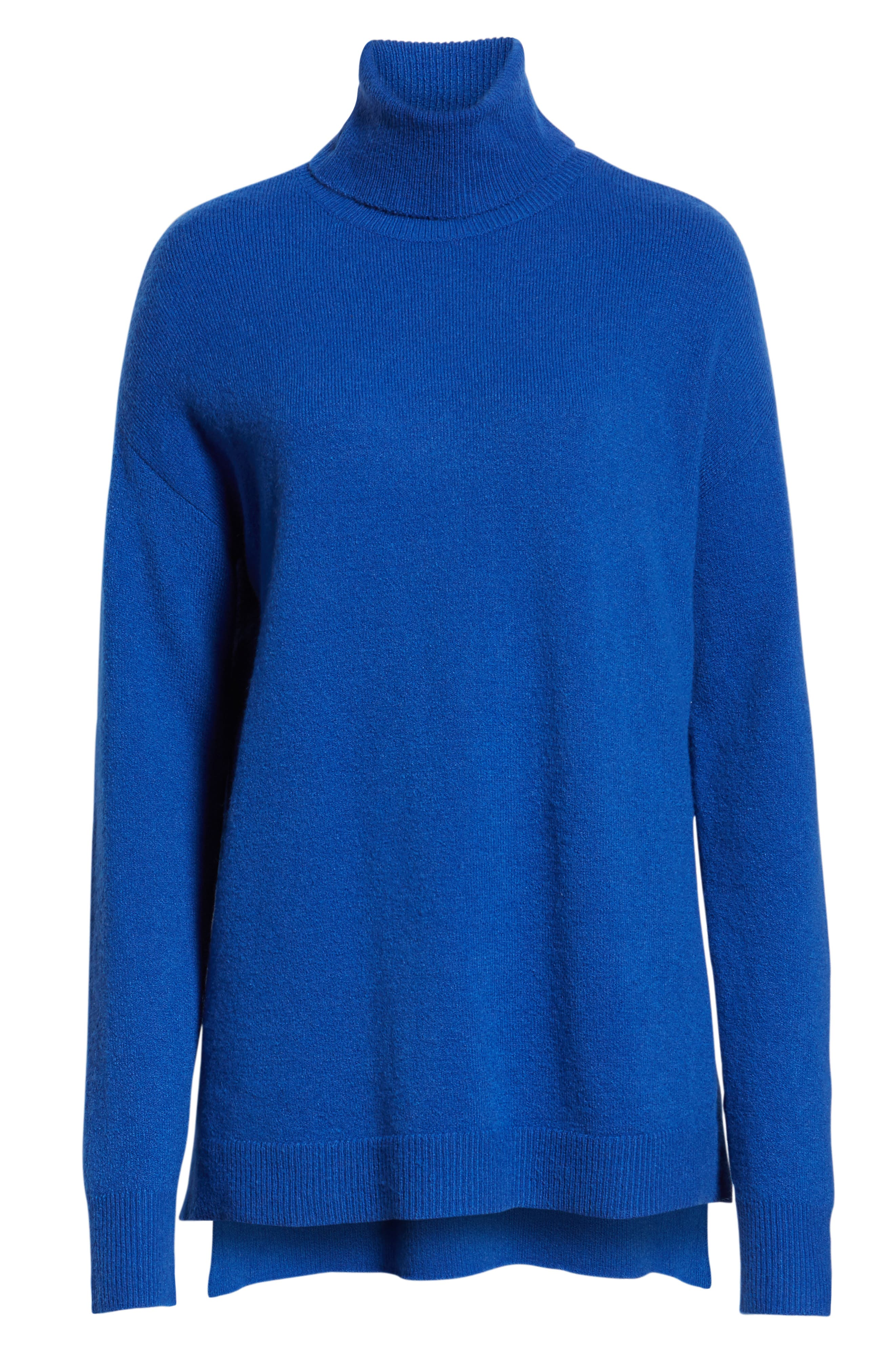 Turtleneck Wool Blend Tunic Sweater,                             Alternate thumbnail 6, color,                             BLUE MAZARINE