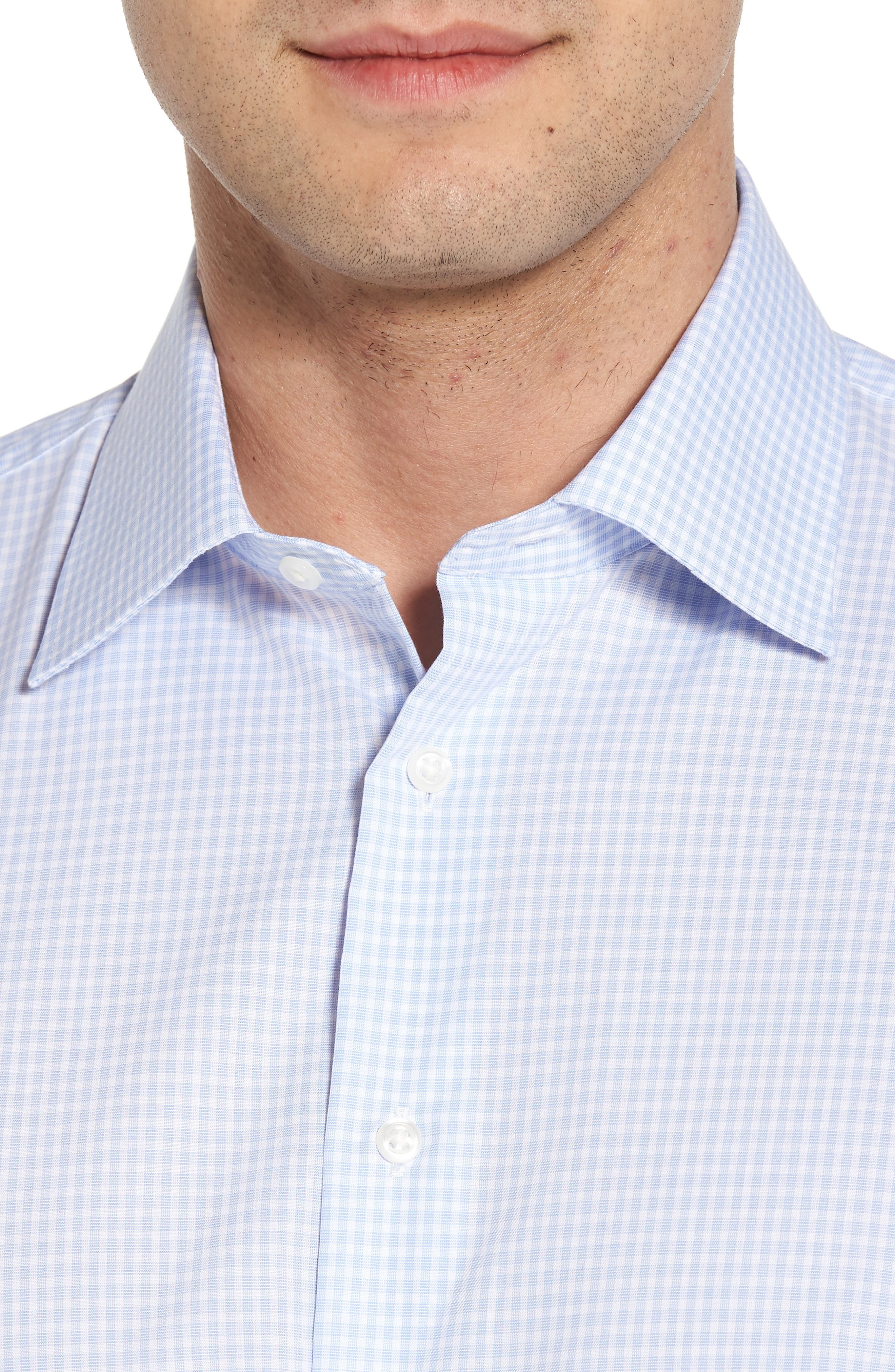 Traditional Fit Non-Iron Check Dress Shirt,                             Alternate thumbnail 2, color,                             BLUE XENON