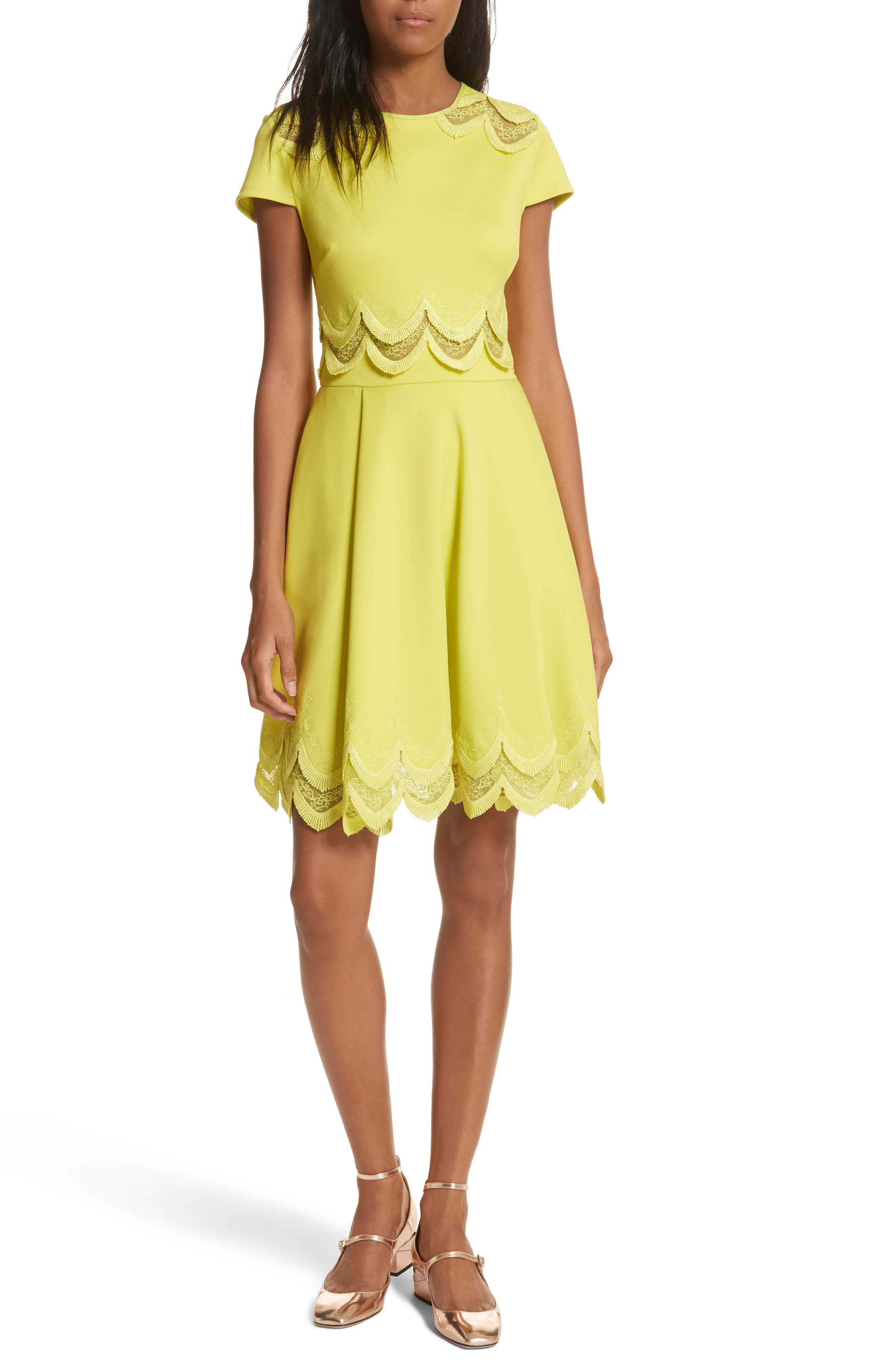 Embroidered Cap Sleeve Skater Dress,                             Main thumbnail 2, color,
