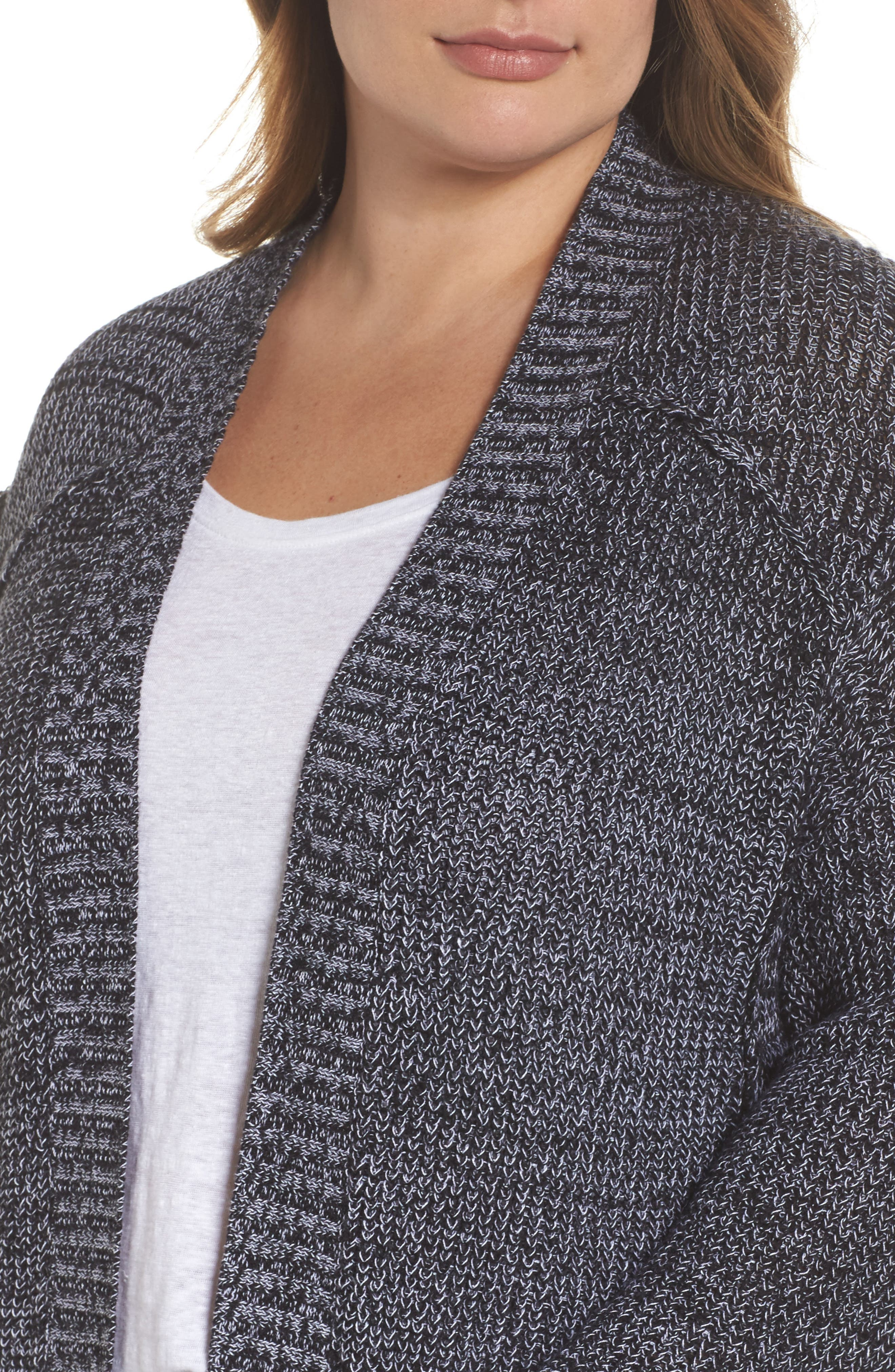 Sweater Knit Cardigan,                             Alternate thumbnail 4, color,                             001